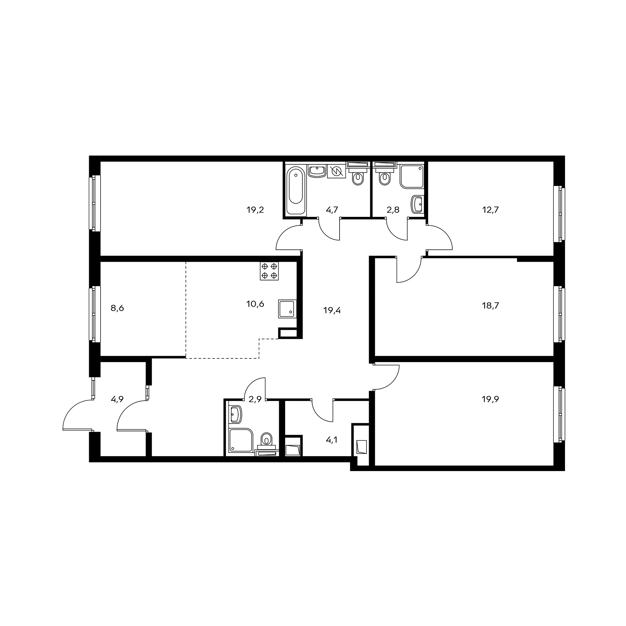 5-комнатная 136.1 м²