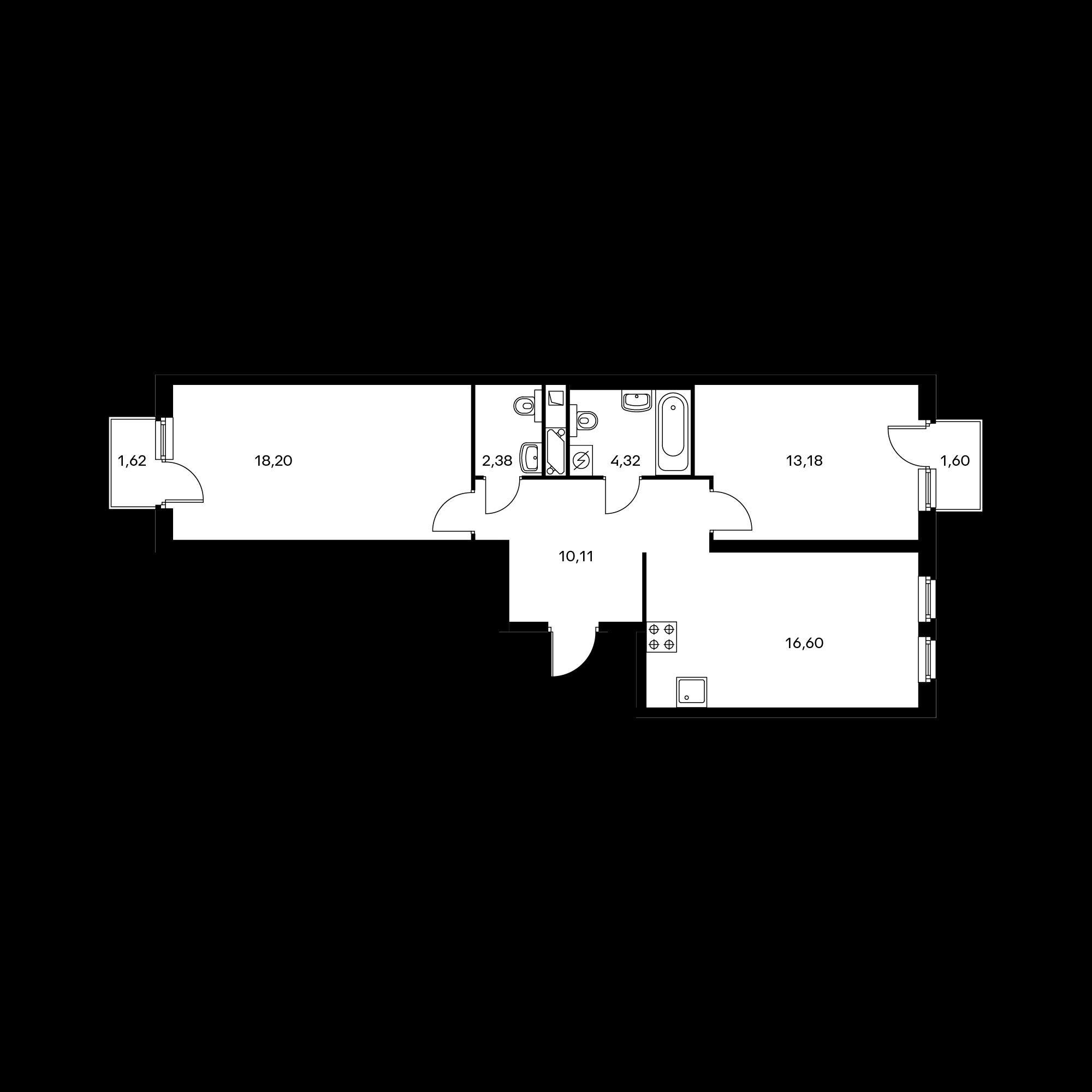 2-комнатная 65.7 м²