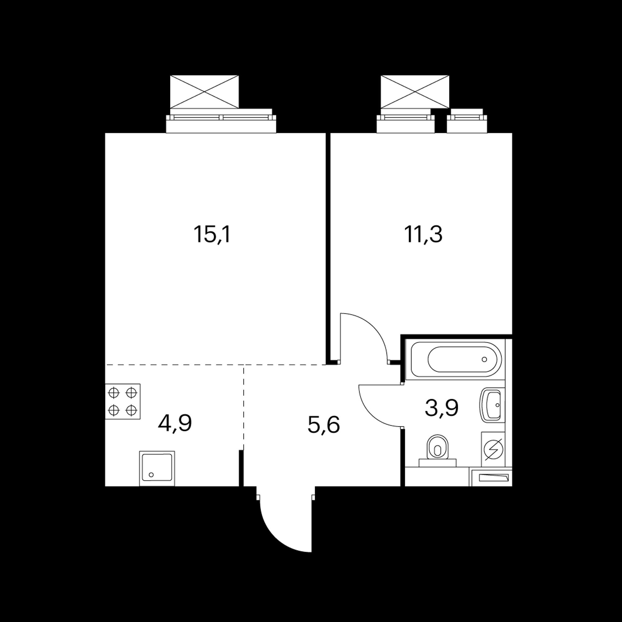 2-комнатная 40.8 м²