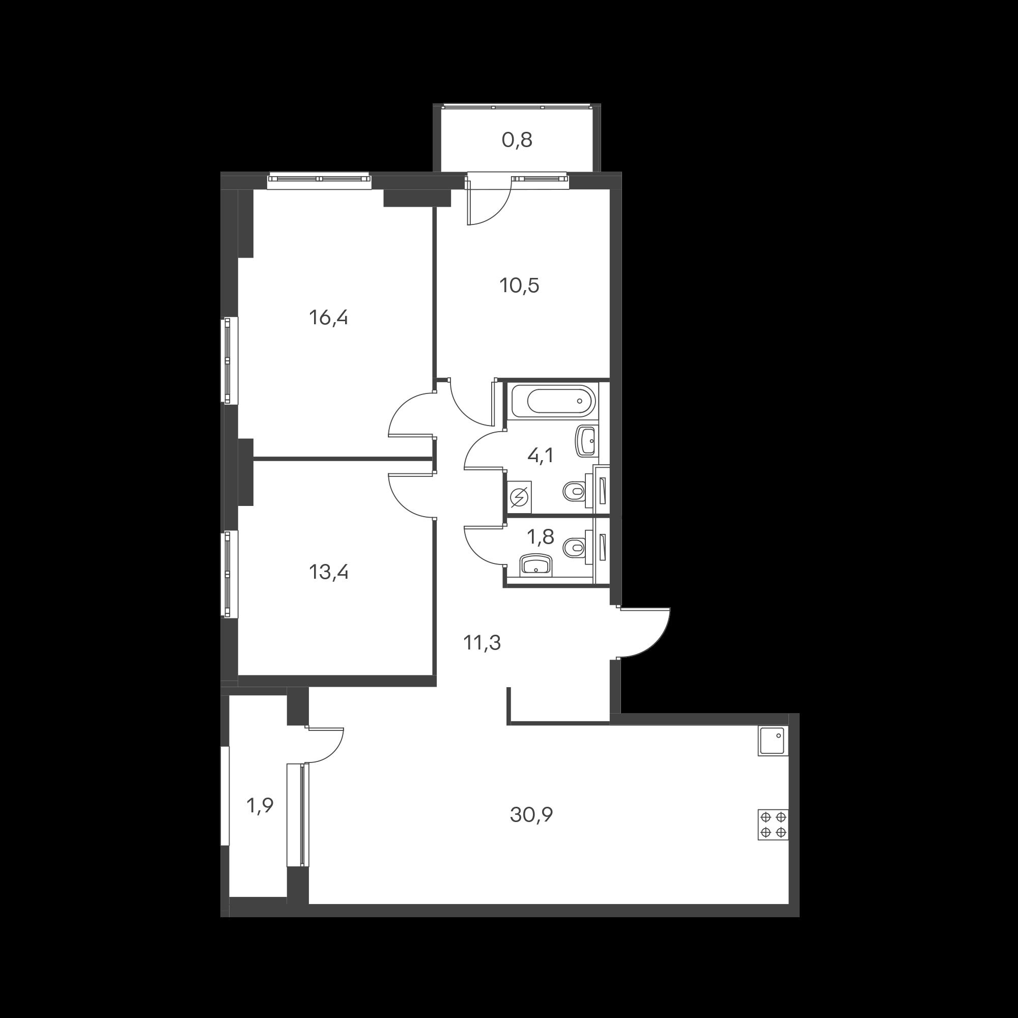 3-комнатная 91.1  м²