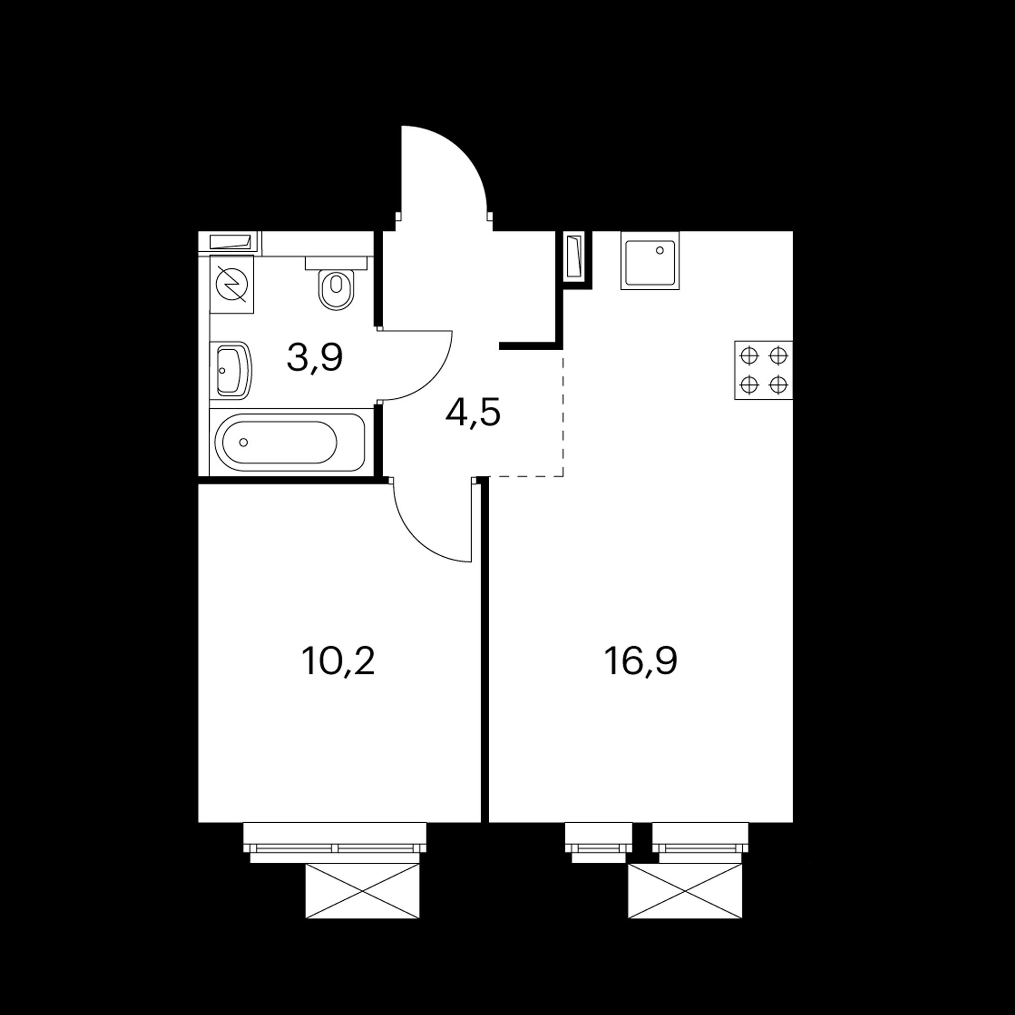 1-комнатная 35.5 м²