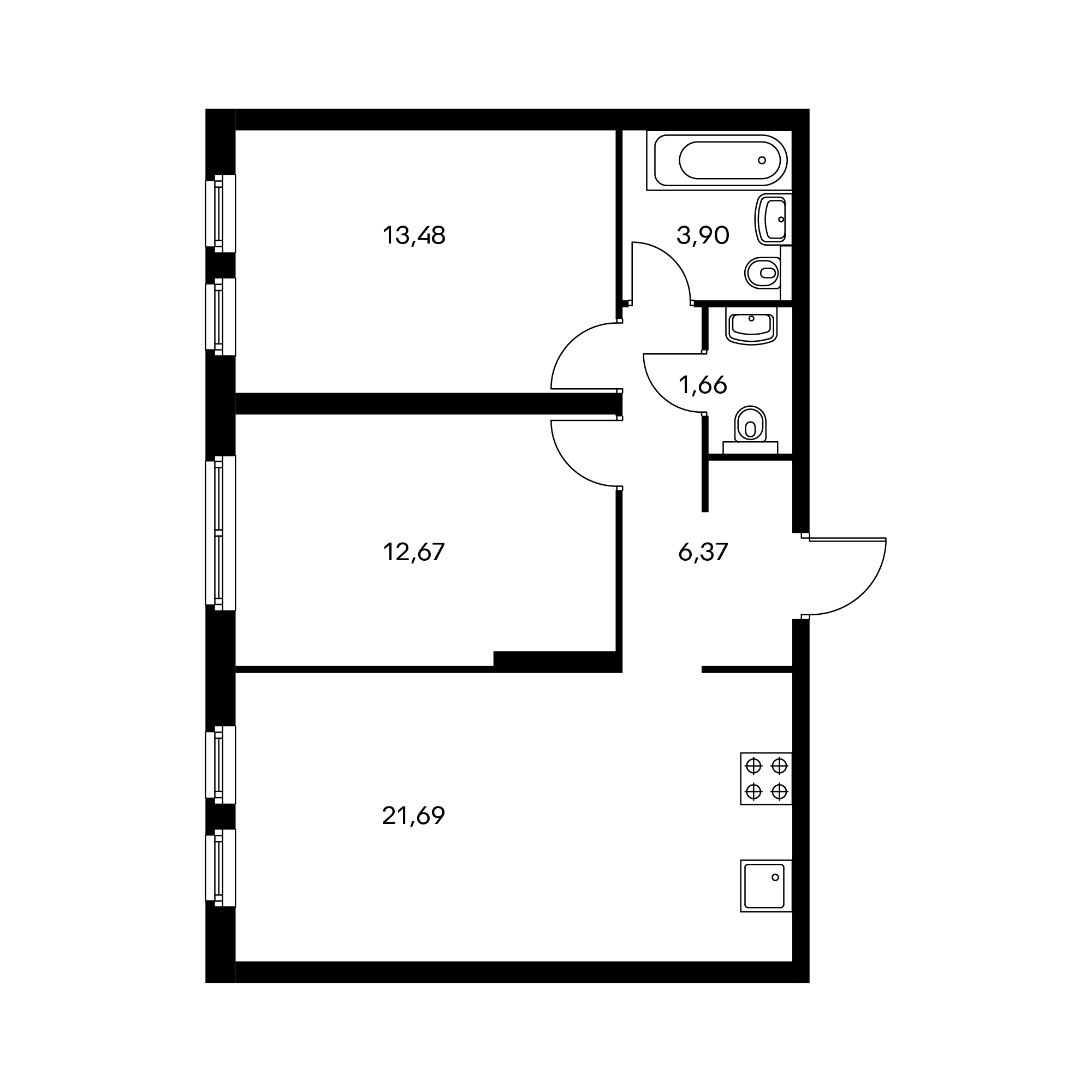 2-комнатная 59.77 м²