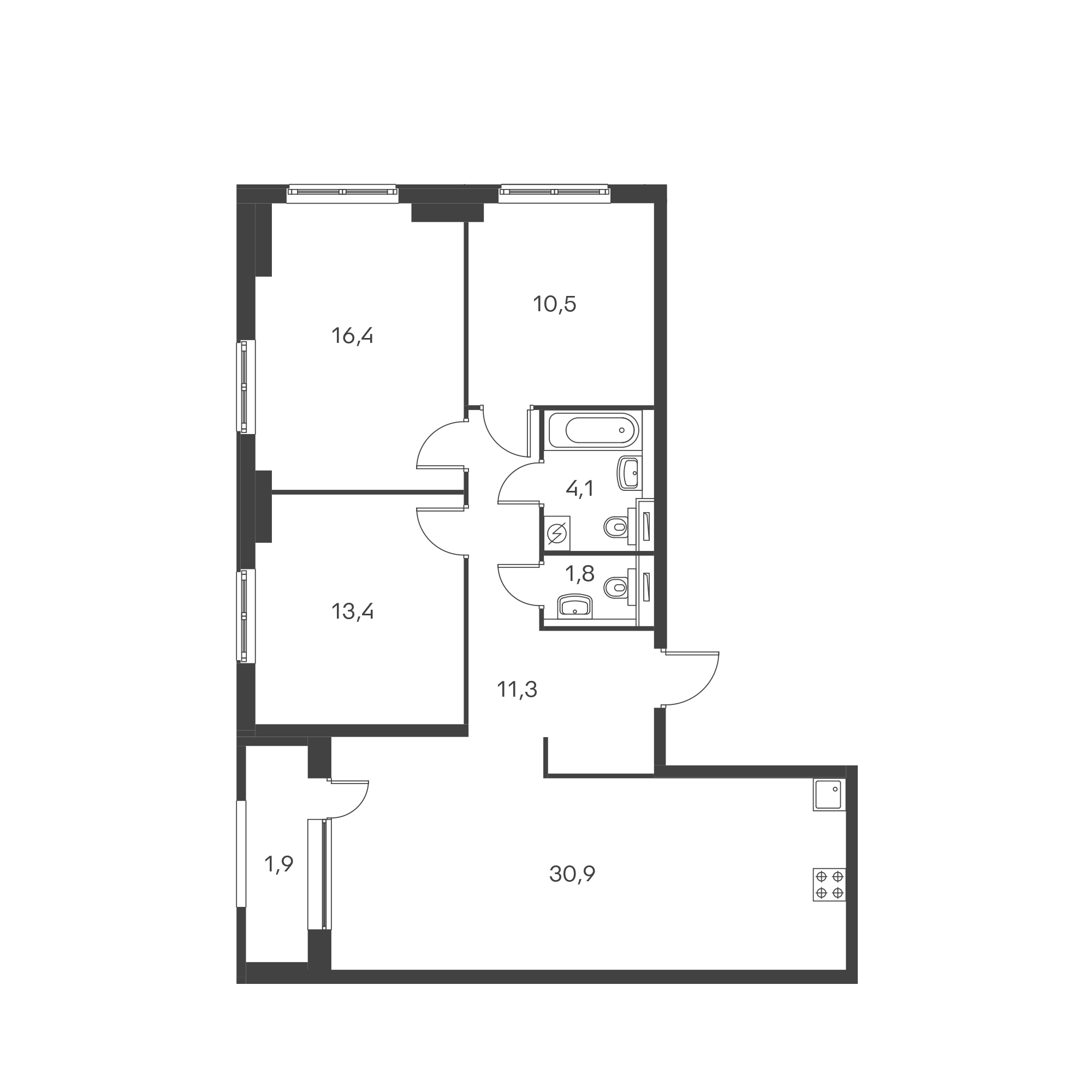 3-комнатная 89.9  м²