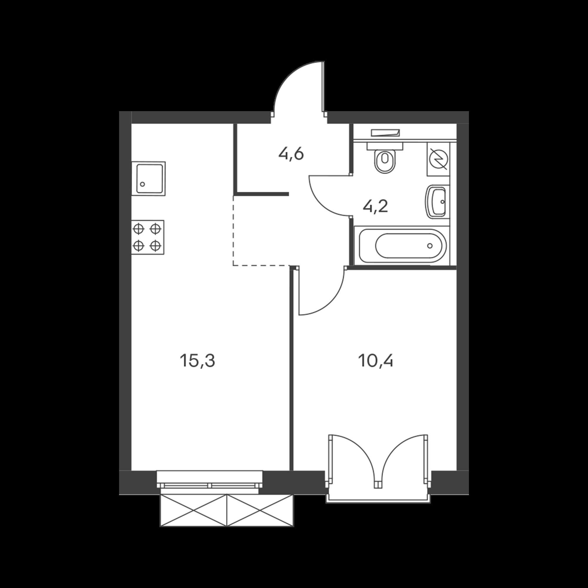 1-комнатная 34.5  м²