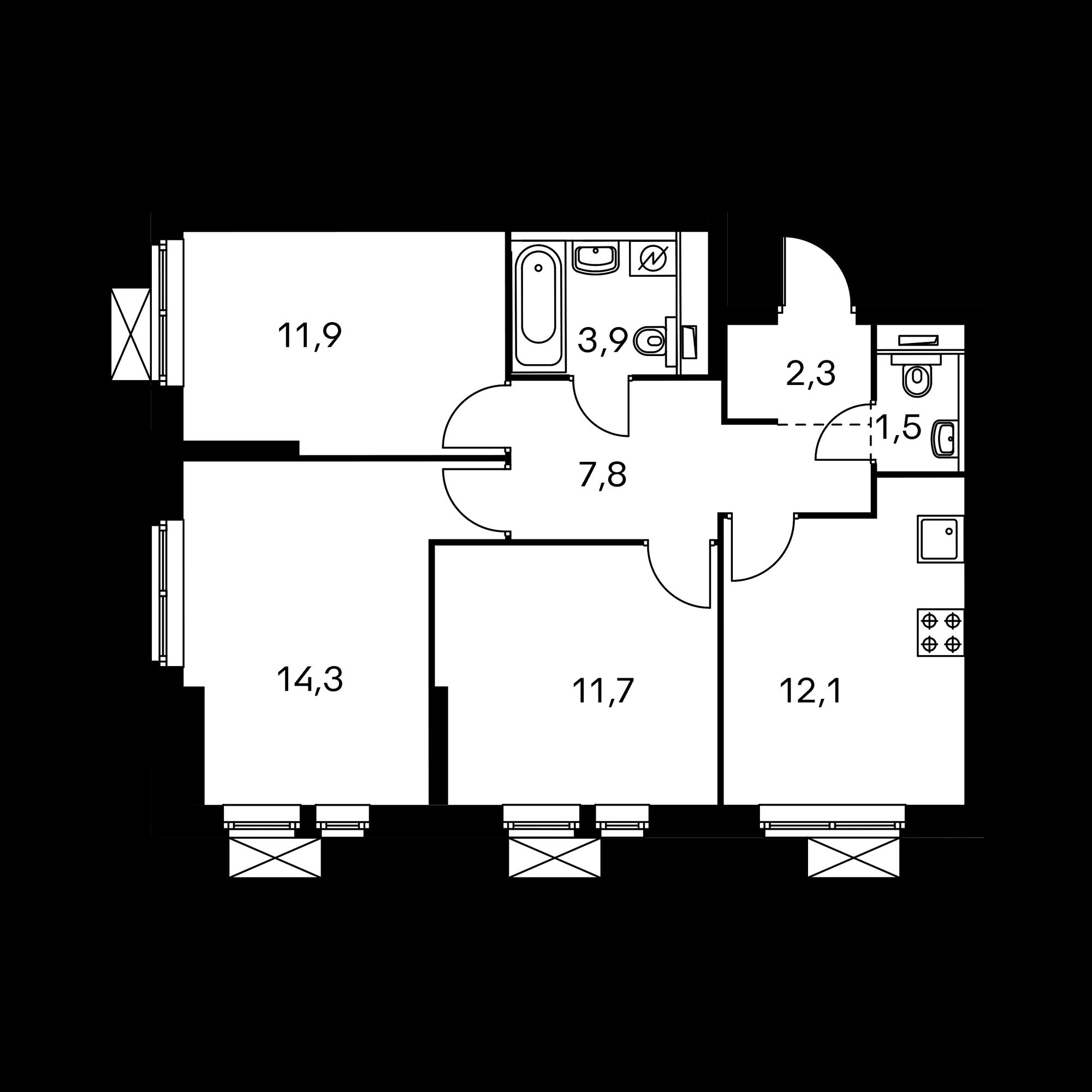 3-комнатная 65.5 м²