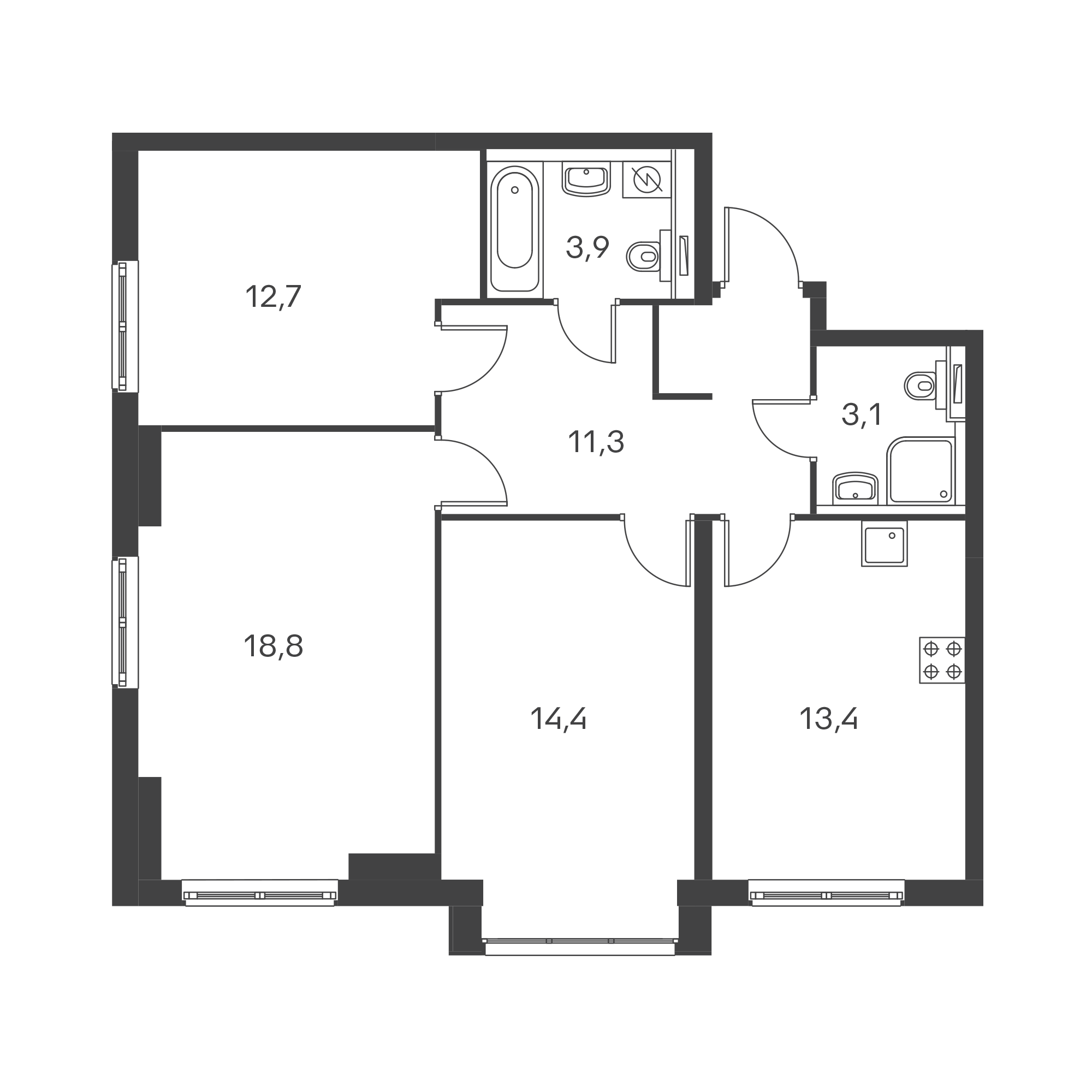 3-комнатная 77.6  м²