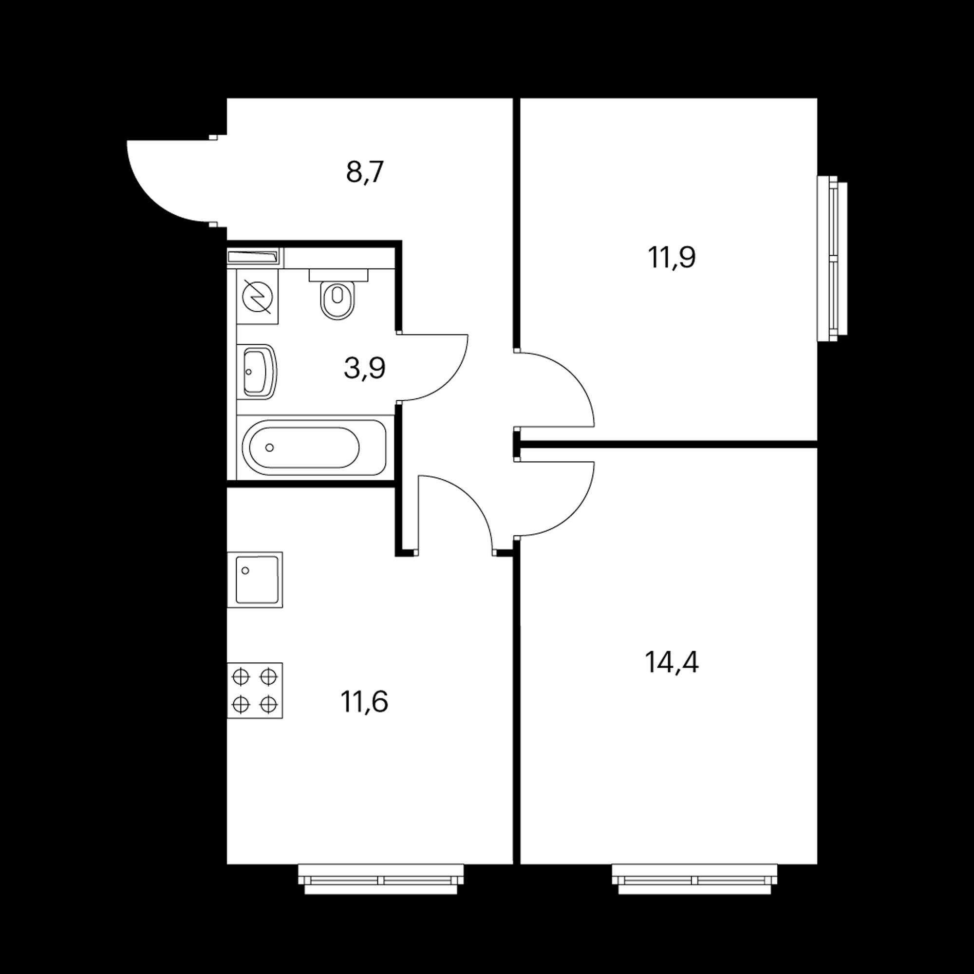 2-комнатная 50.5 м²