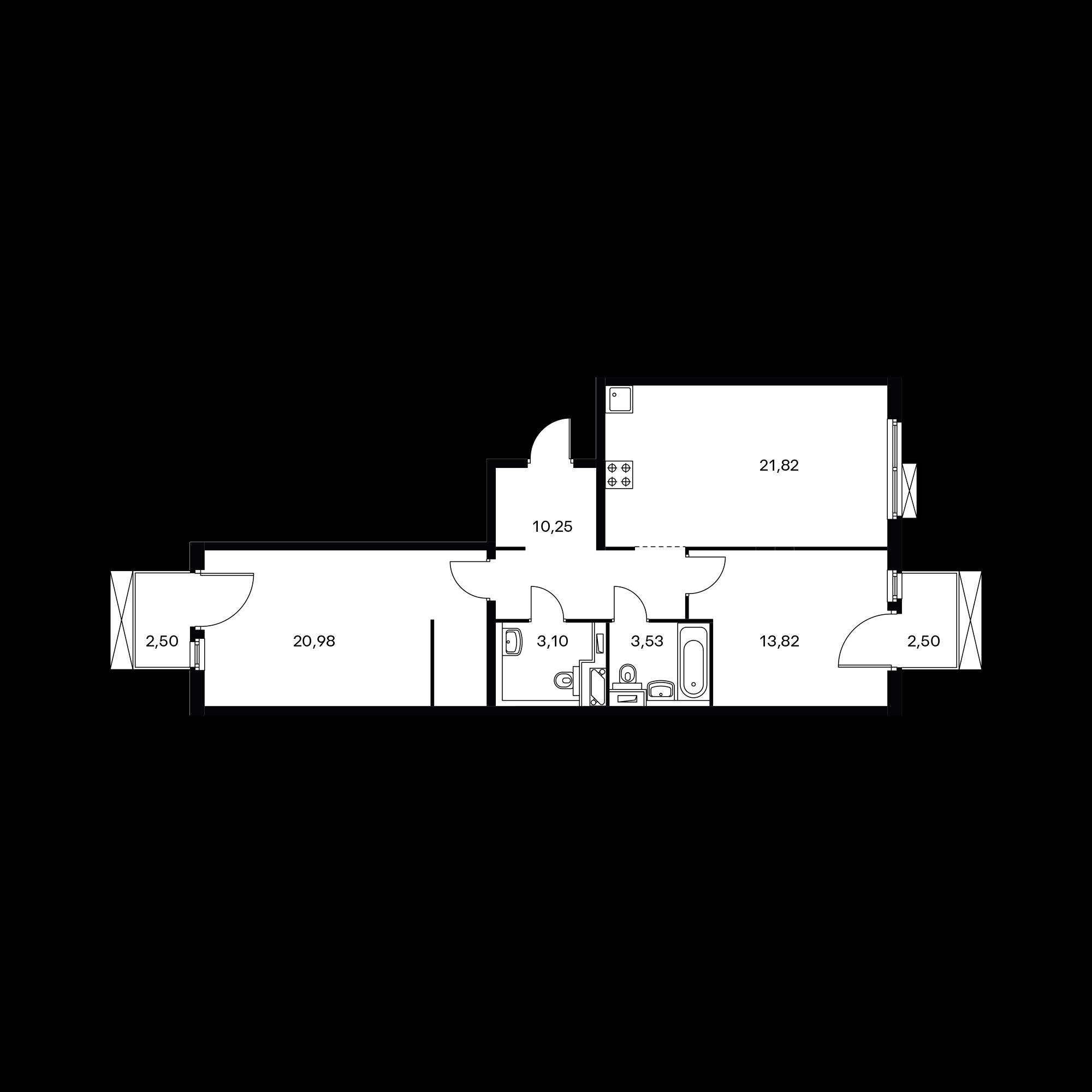 2-комнатная 75 м²