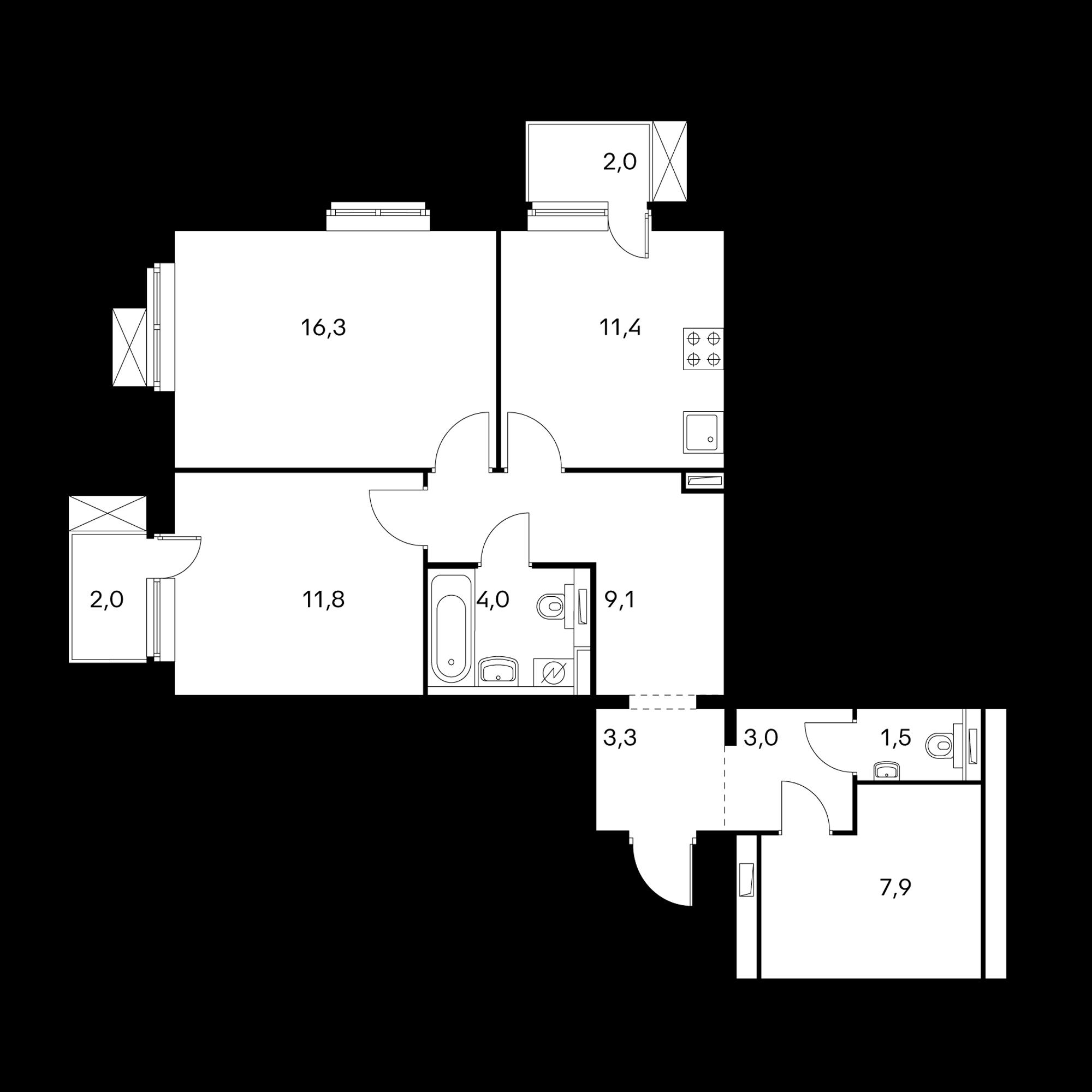 2-комнатная 69.5 м²