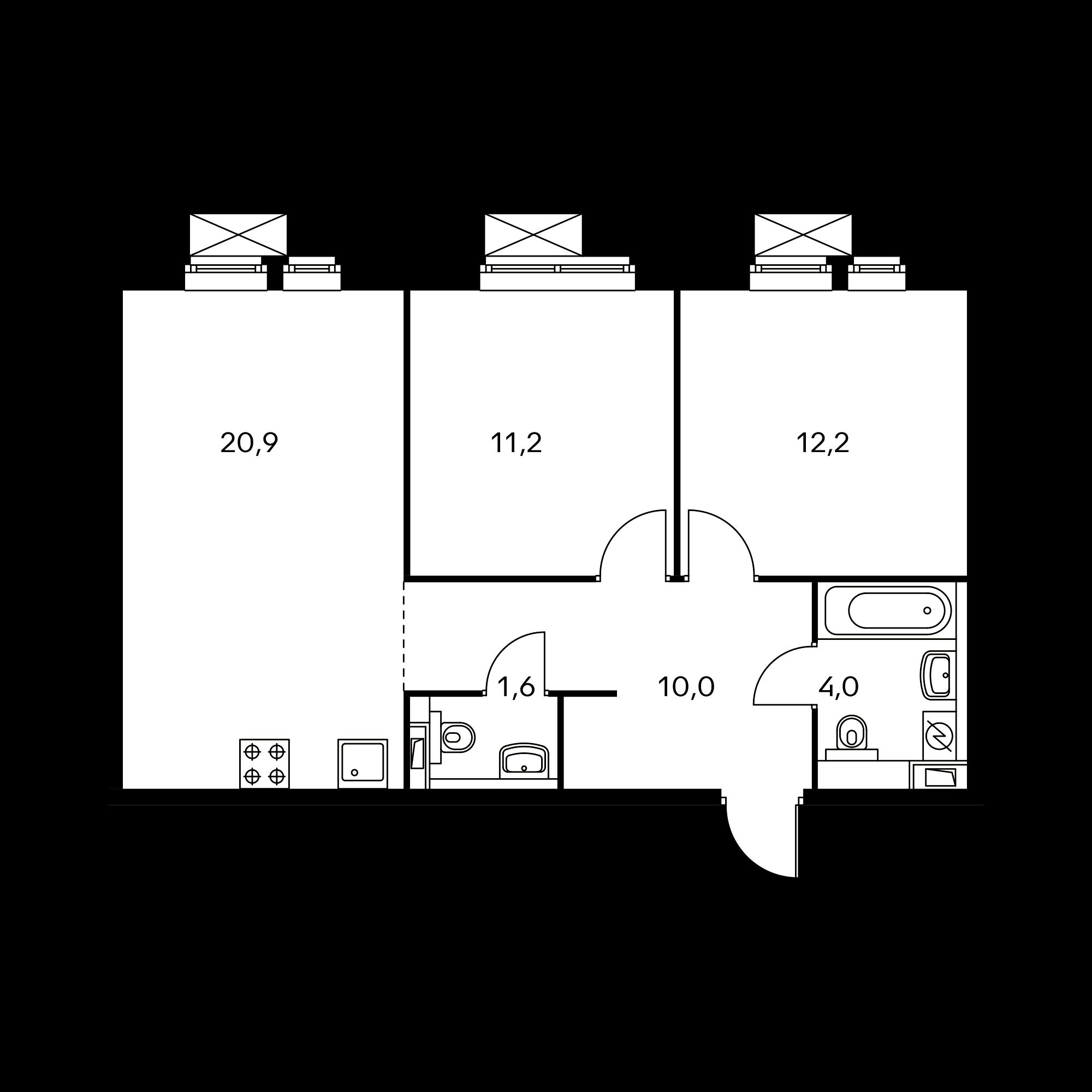 2-комнатная 59.9  м²