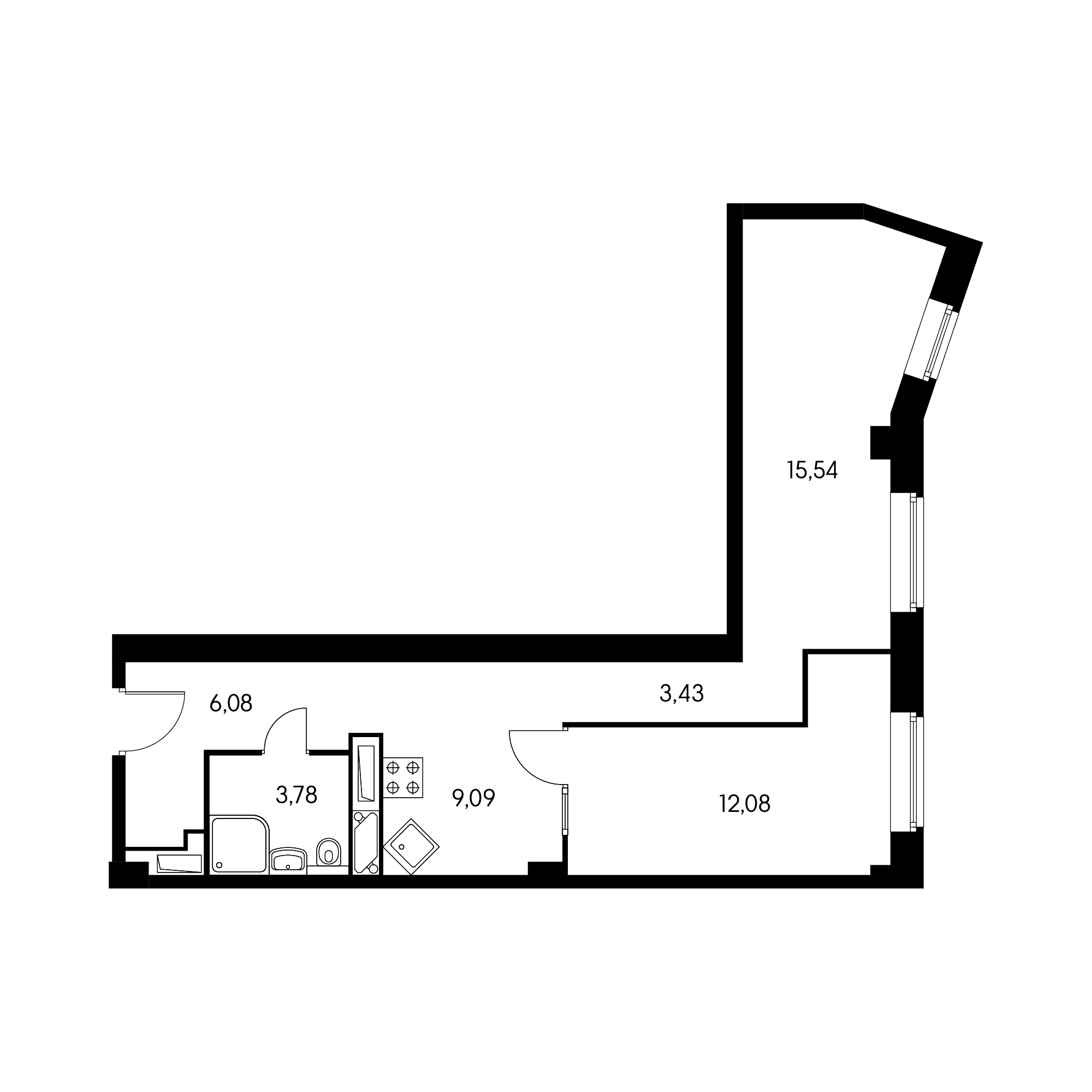 1-комнатная 50.1  м²