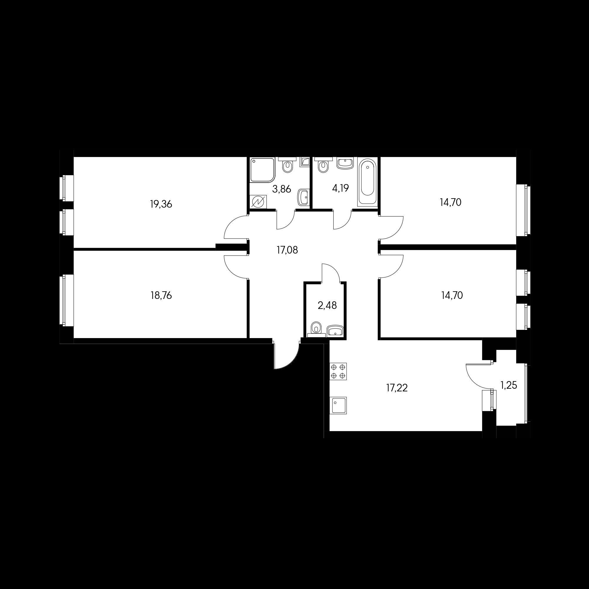 4-комнатная 114.5 м²