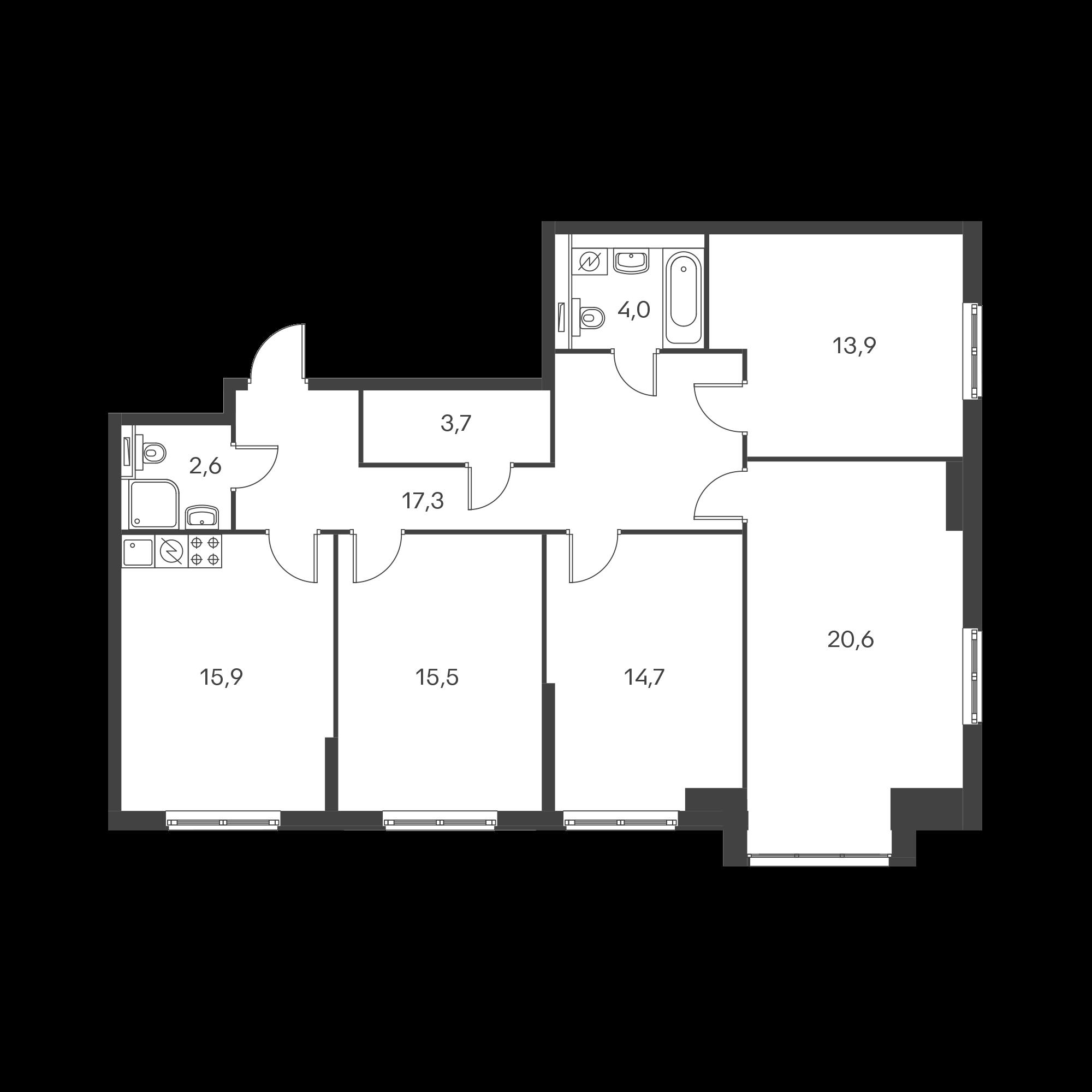 4-комнатная 107.7 м²