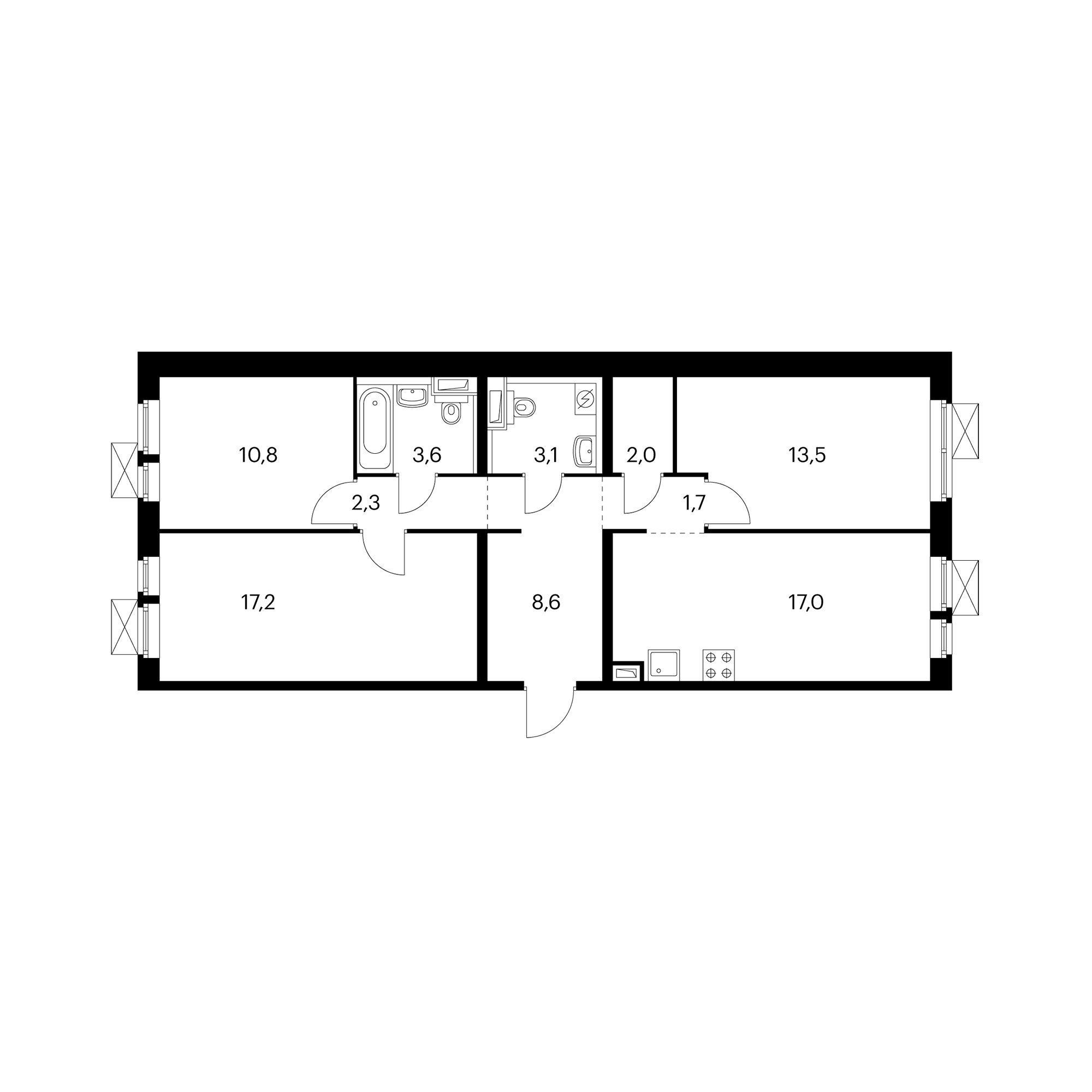3-комнатная 79.7  м²