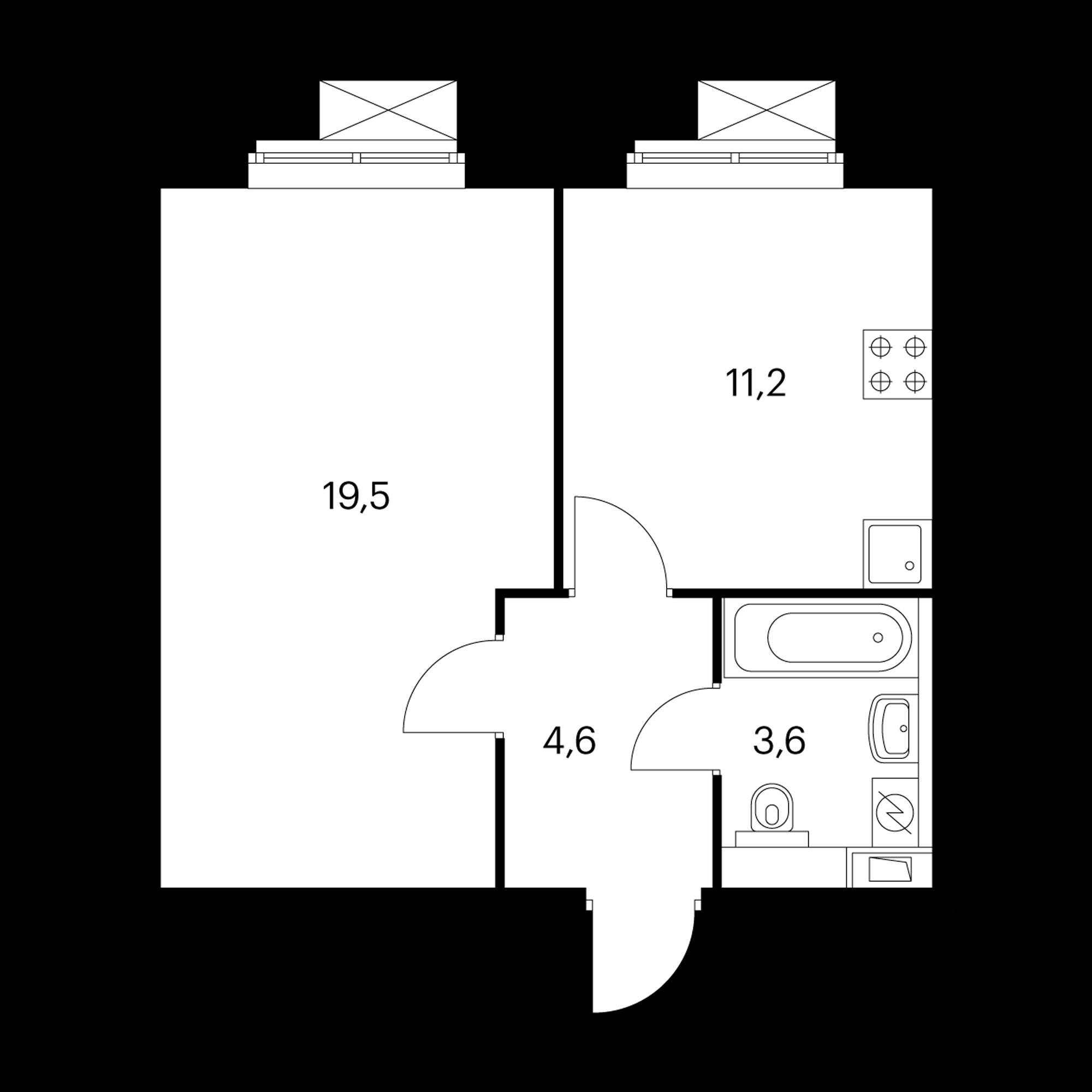 1-комнатная 38.9 м²