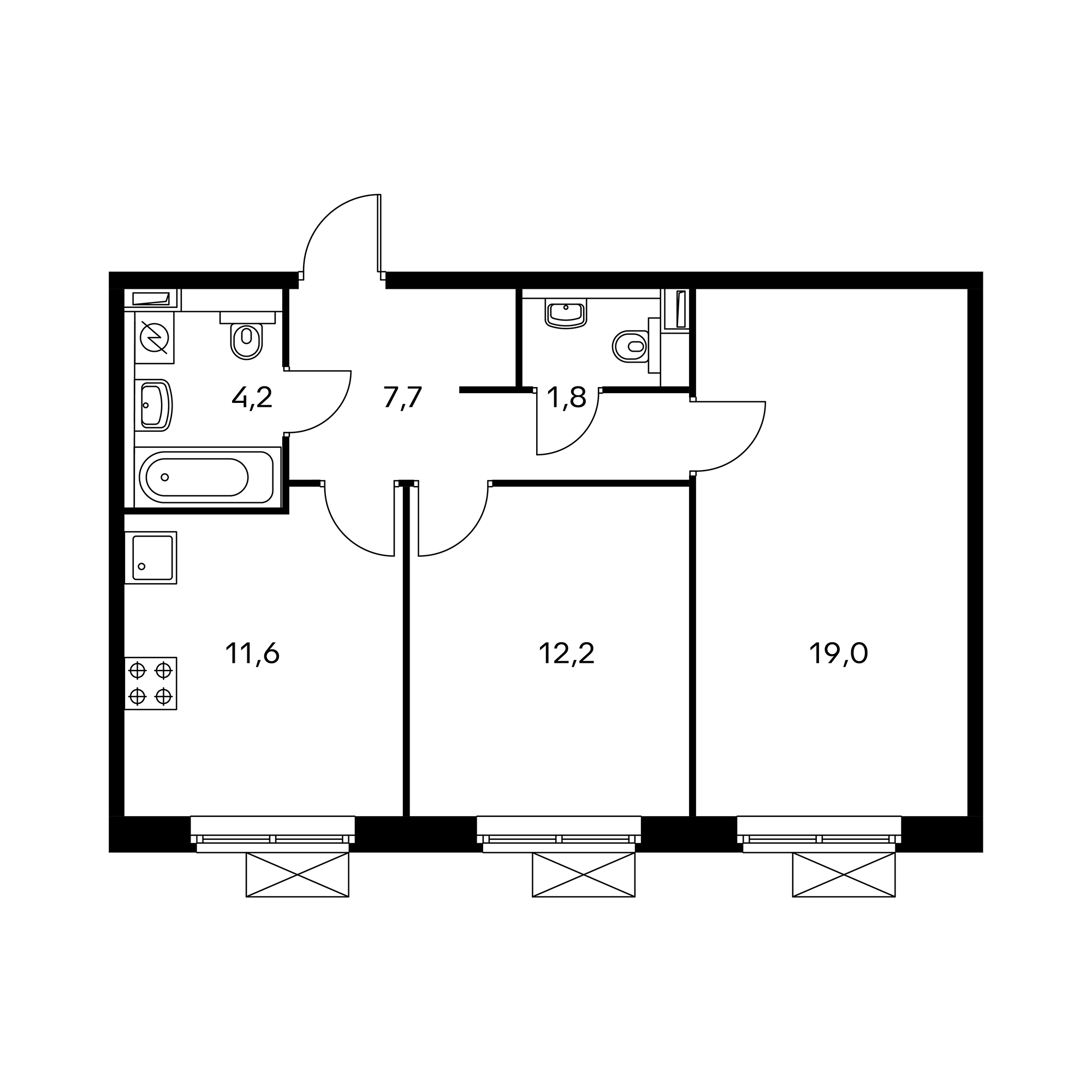2-комнатная 55.4  м²