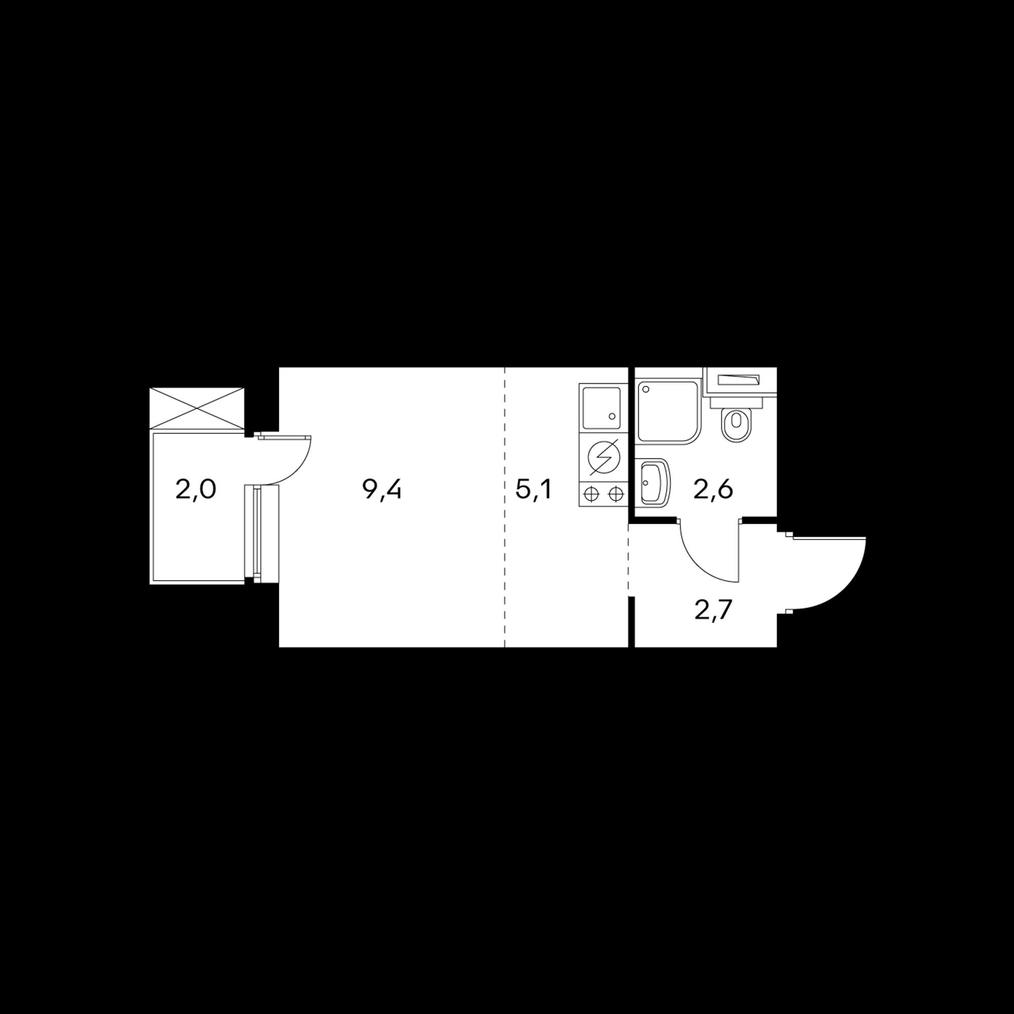 Студия 20.4  м²