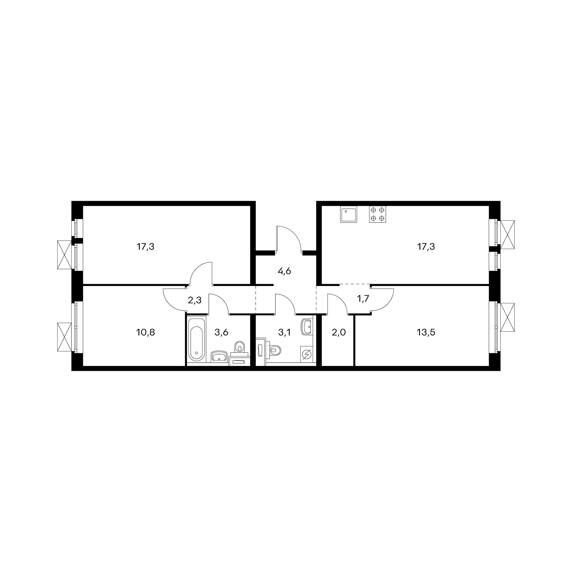 3-комнатная 76.2 м²