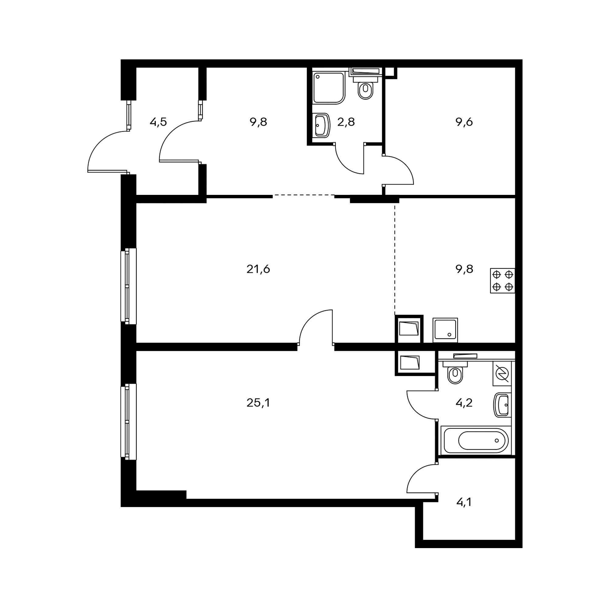 2-комнатная 91.5  м²