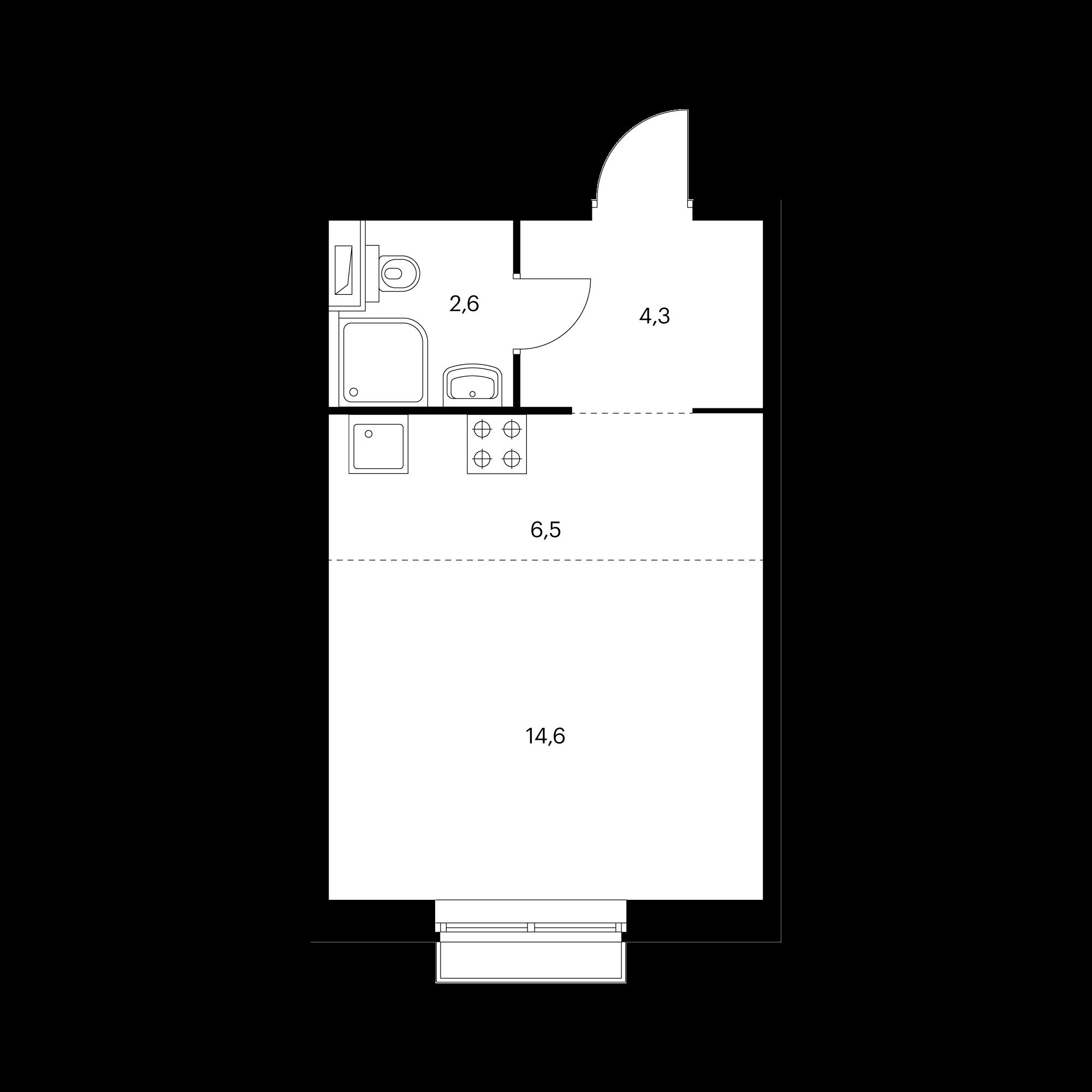 Студия 28  м²