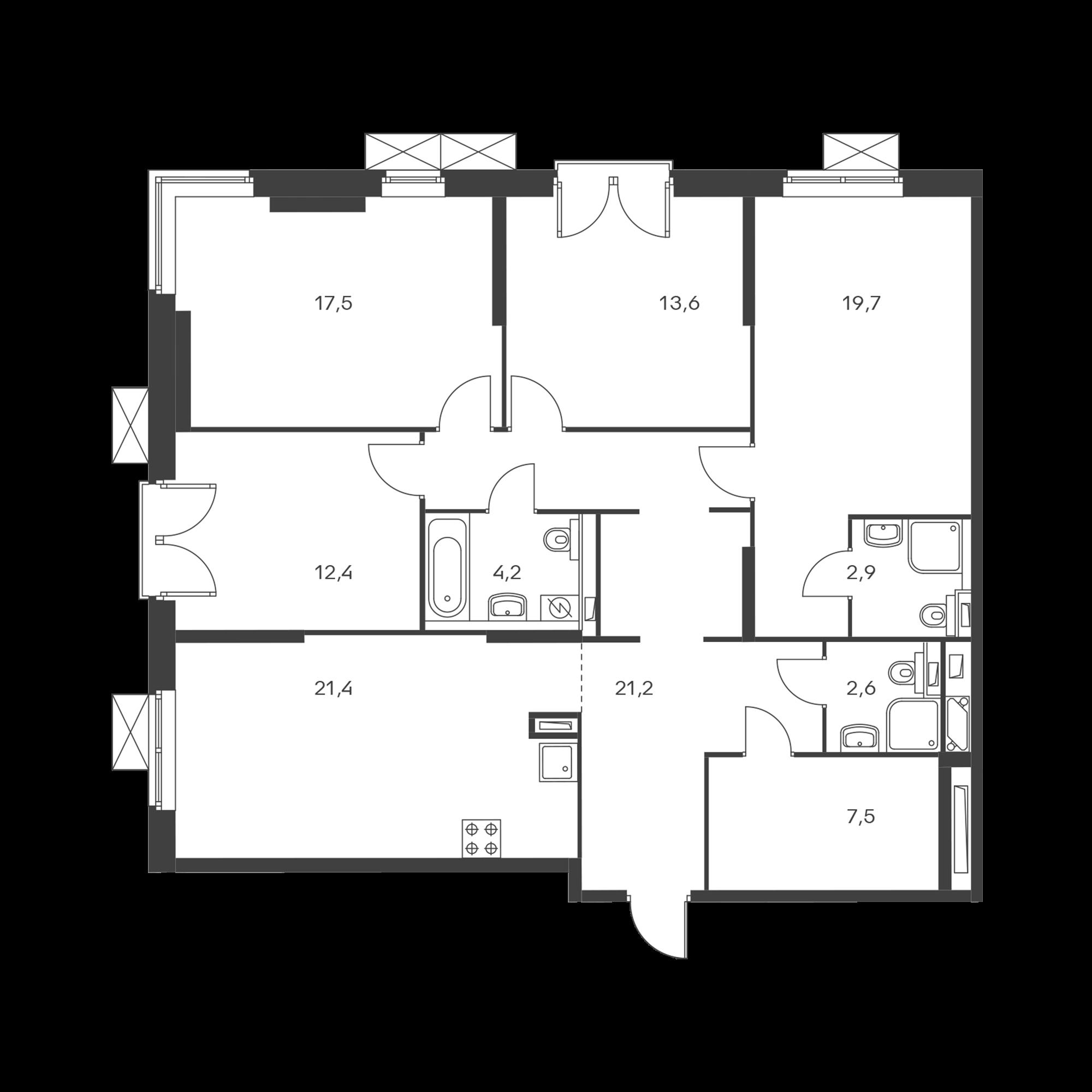 4-комнатная 123 м²