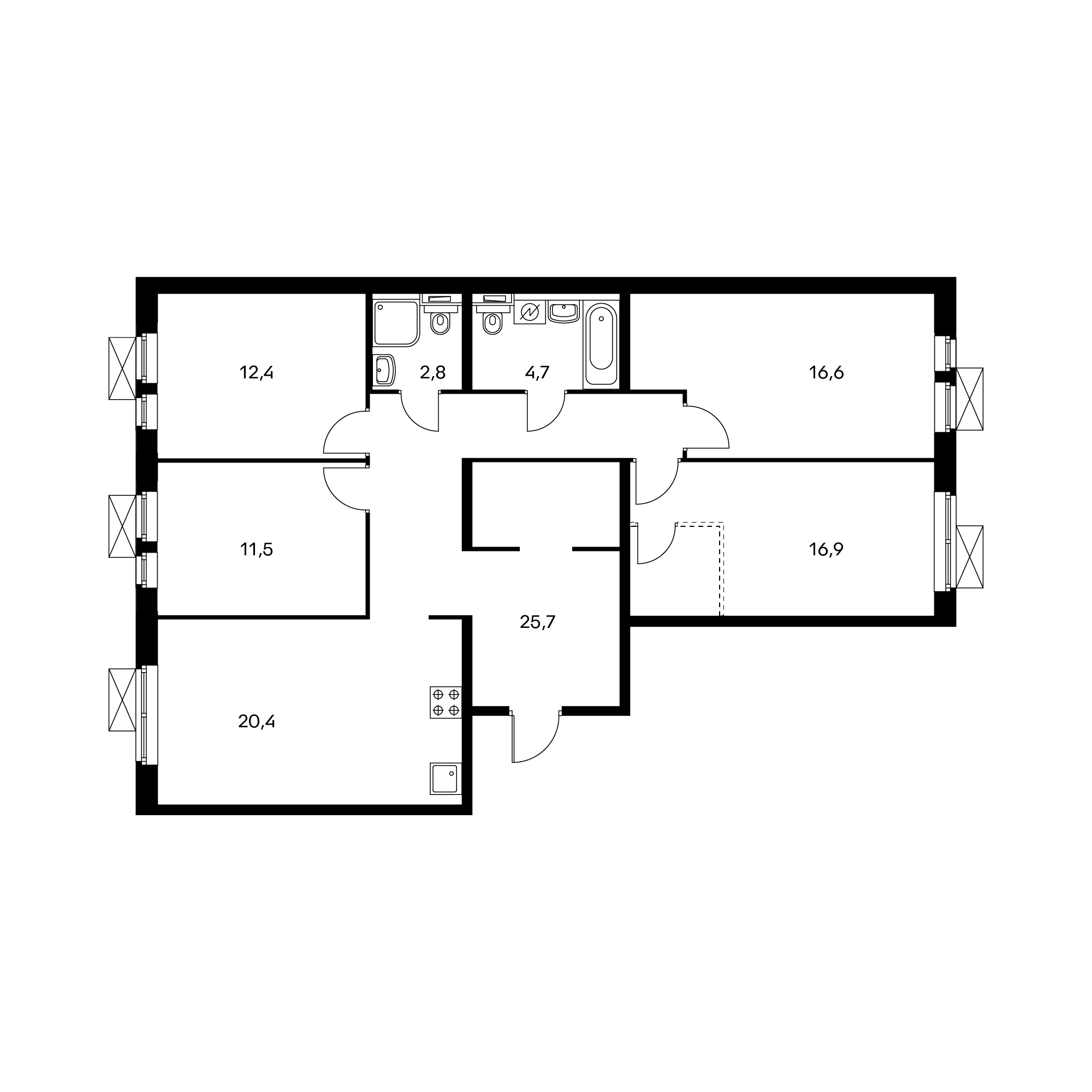 4-комнатная 110 м²