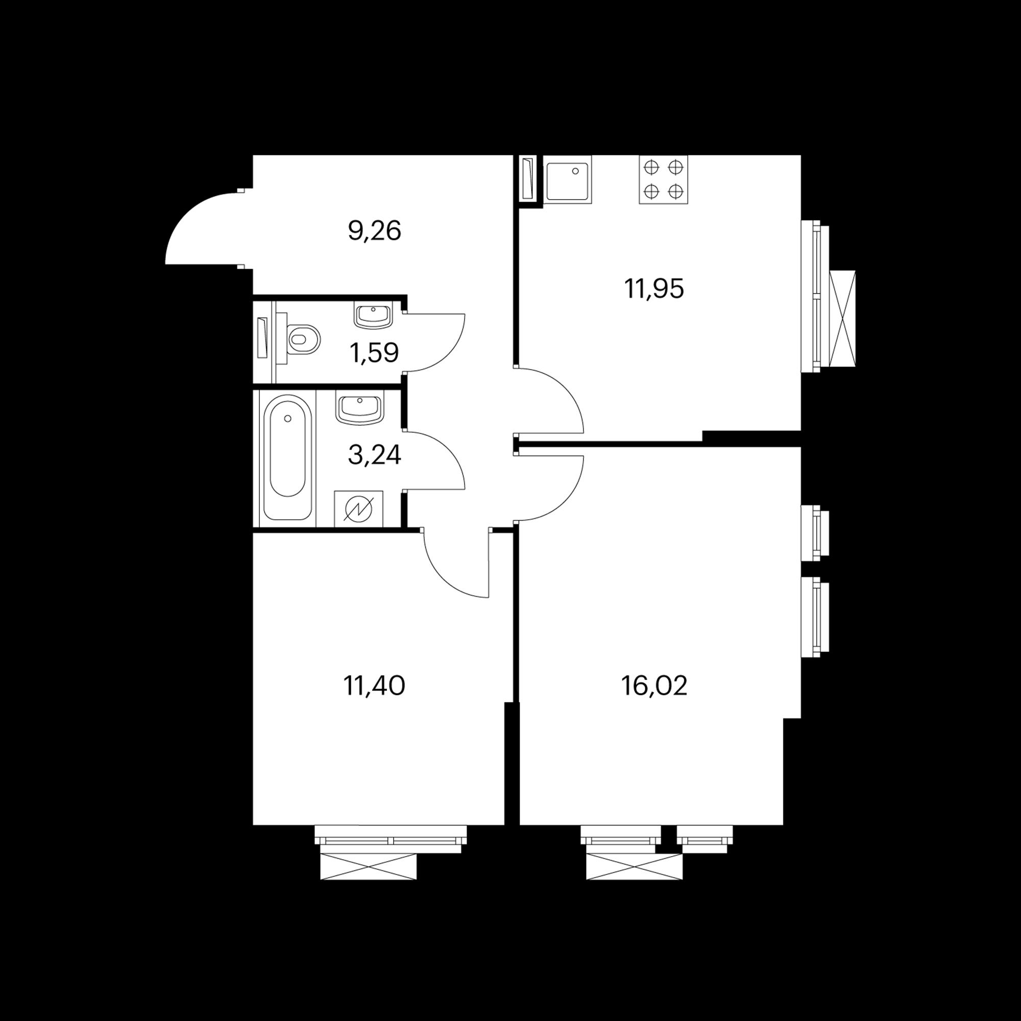 2-комнатная 53.46 м²