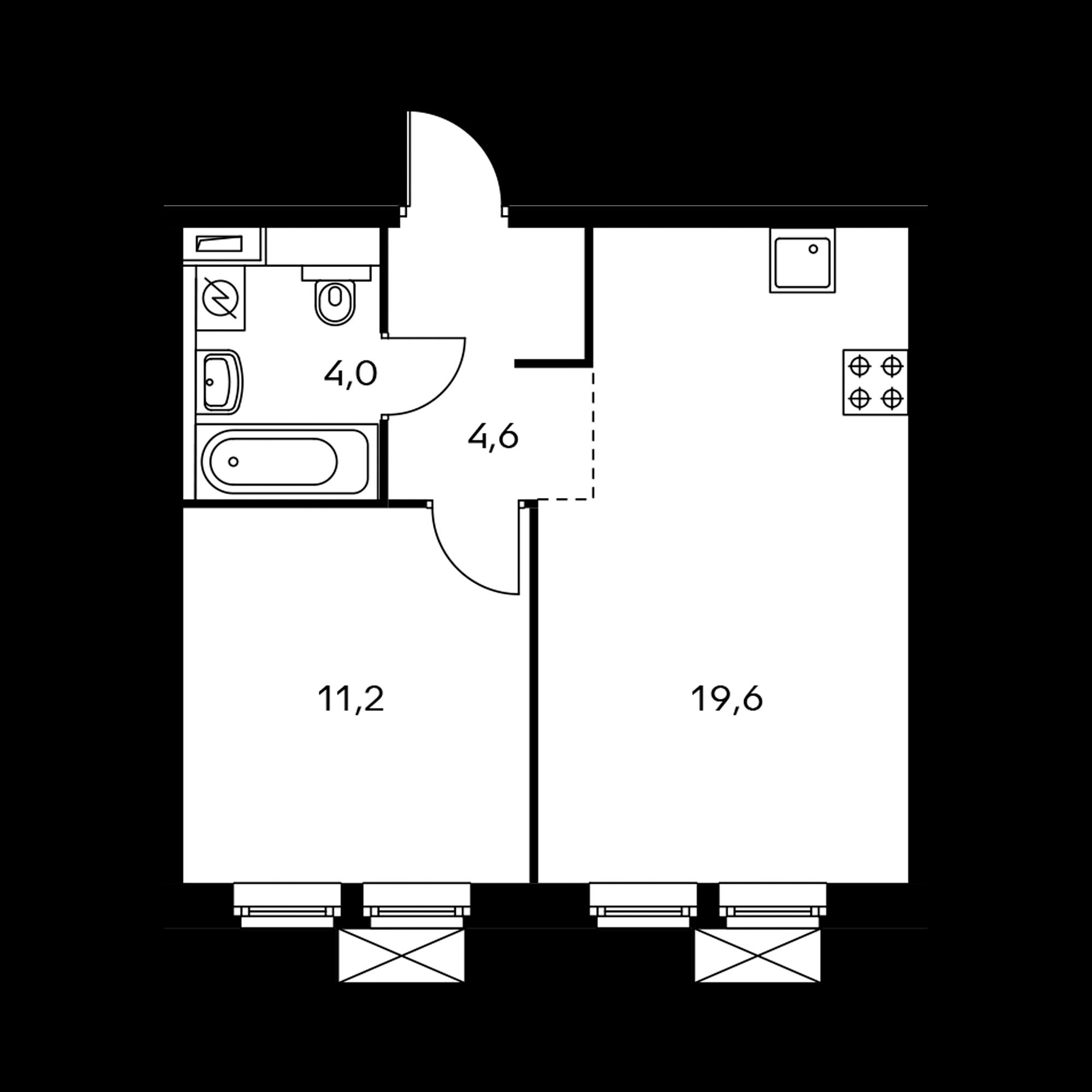 1-комнатная 39.4 м²