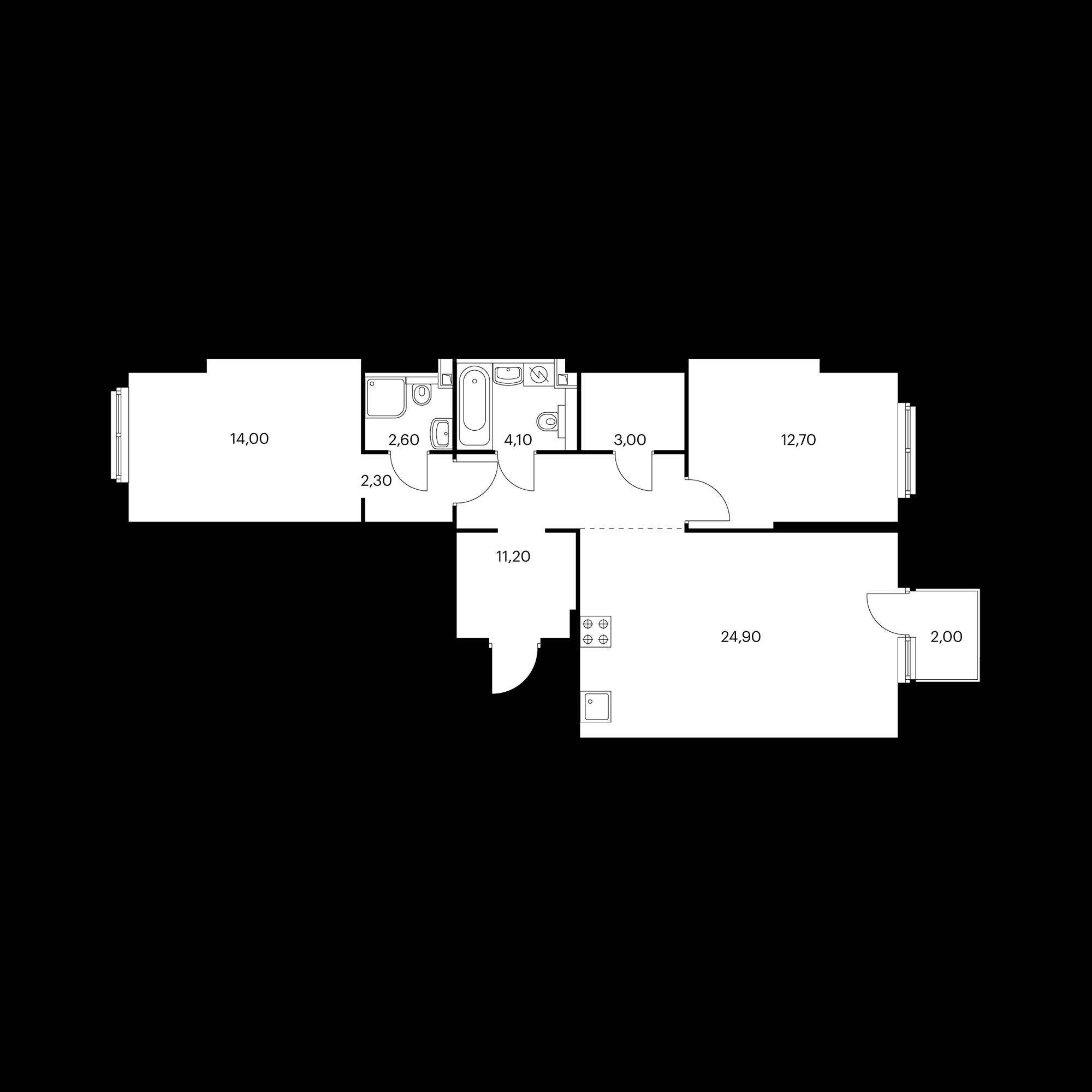 2-комнатная 75.6  м²
