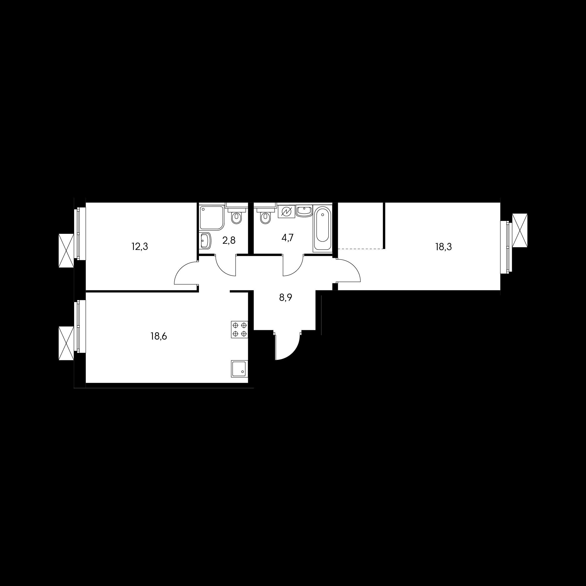 2-комнатная 65 м²