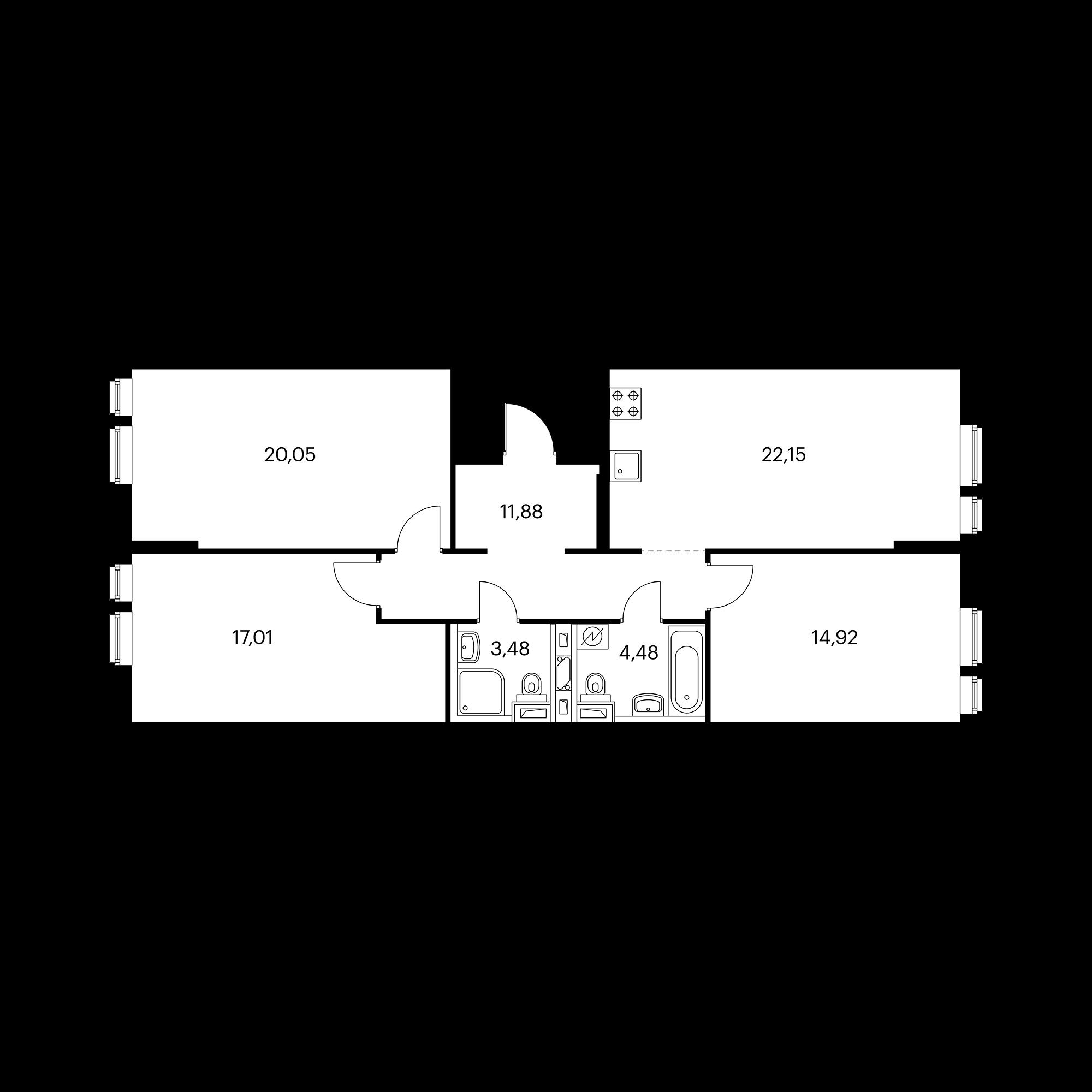 3-комнатная 93.97  м²