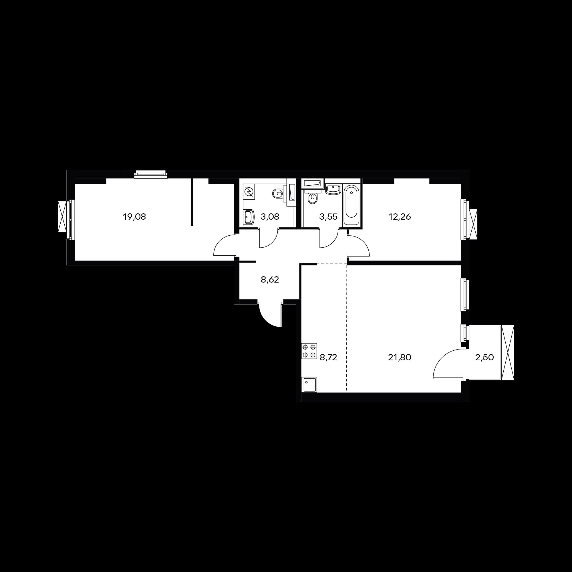 3-комнатная 77.86 м²
