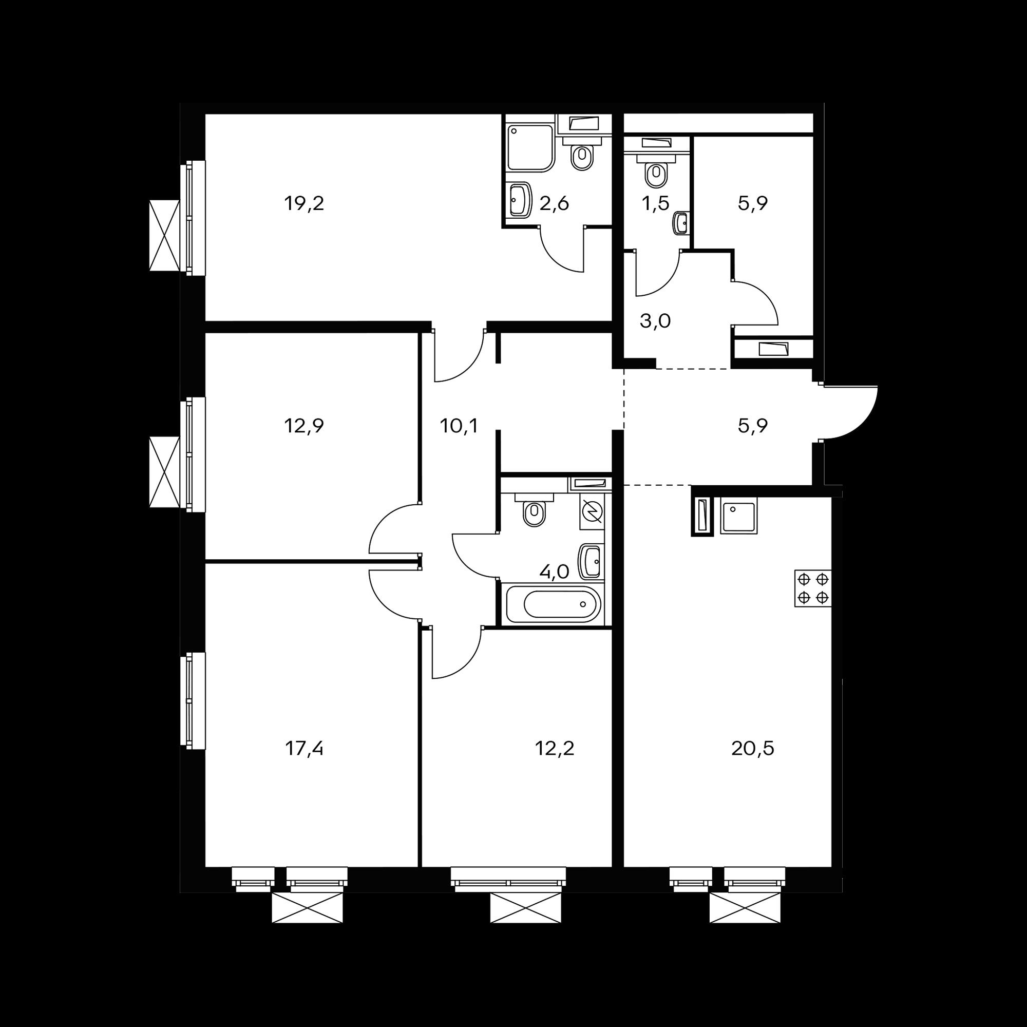 4-комнатная 115.2 м²