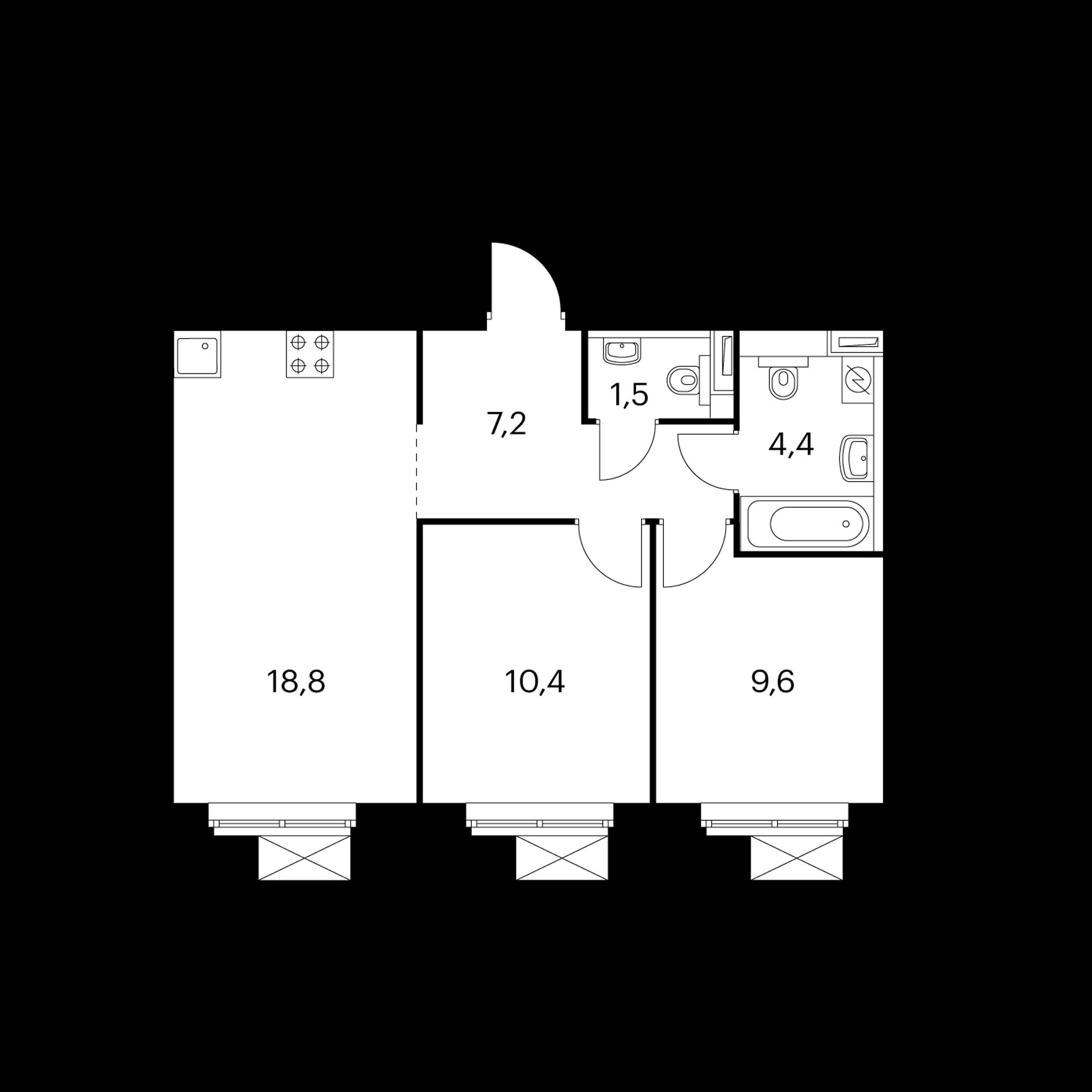2-комнатная 51.9  м²