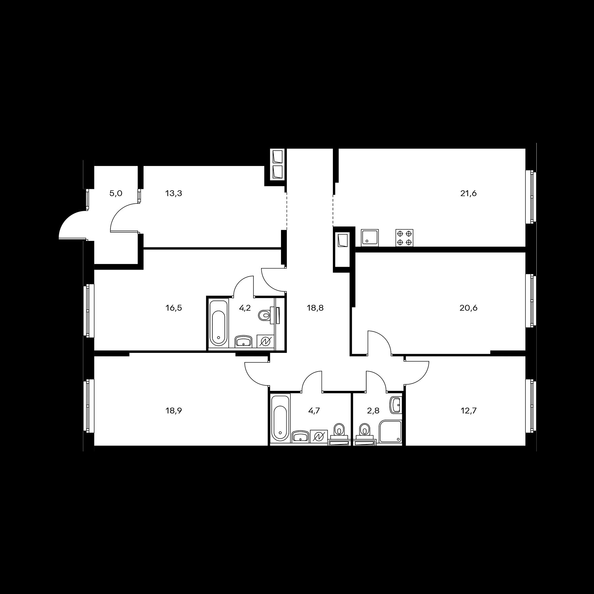 4-комнатная 139  м²