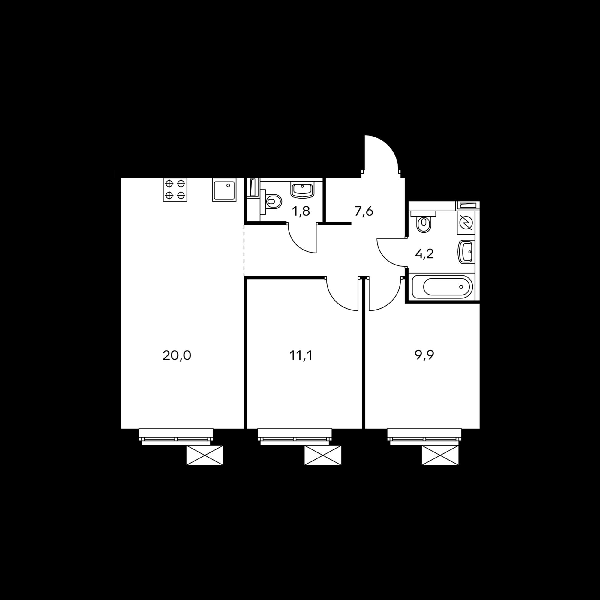 2-комнатная 54.6  м²