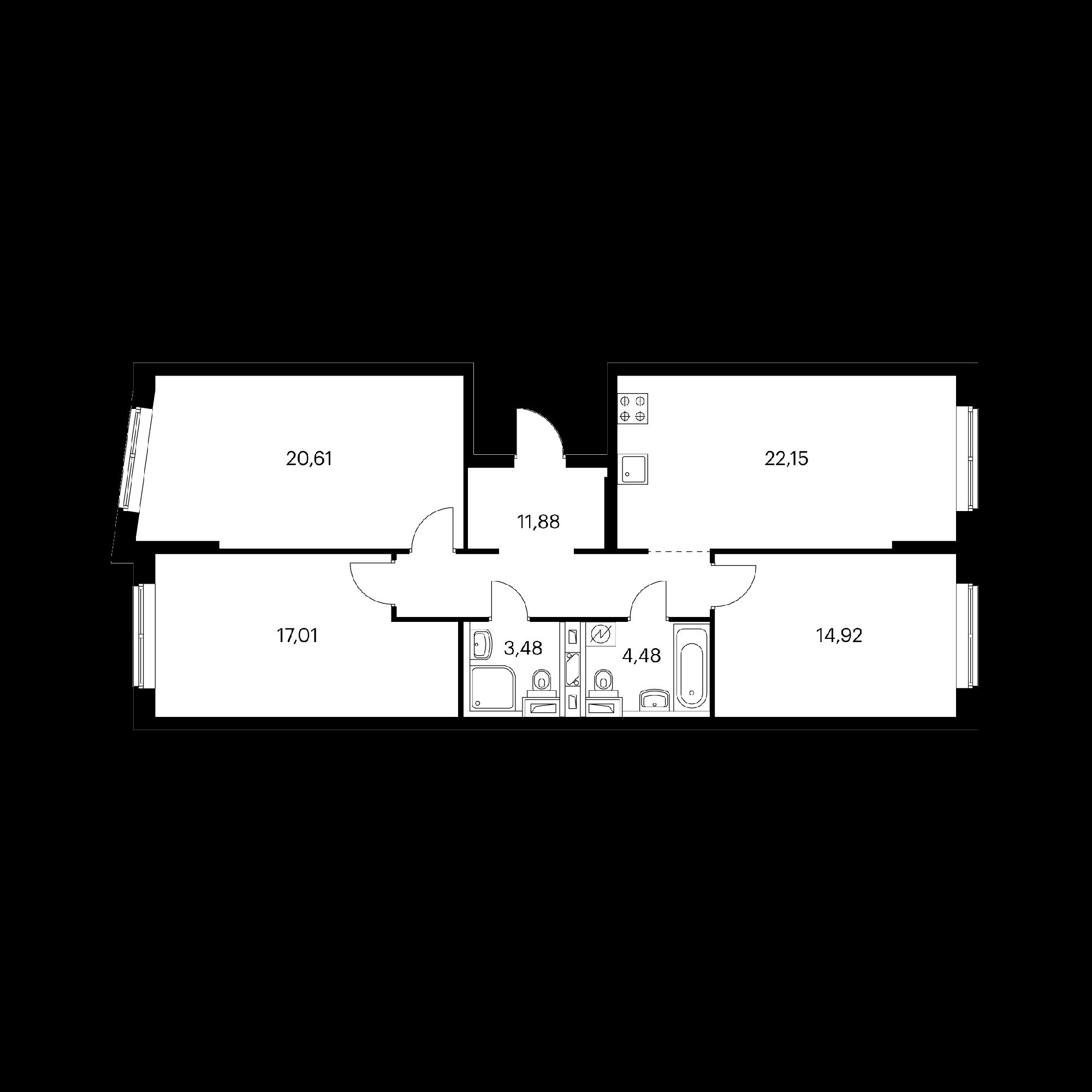 3-комнатная 94.53 м²
