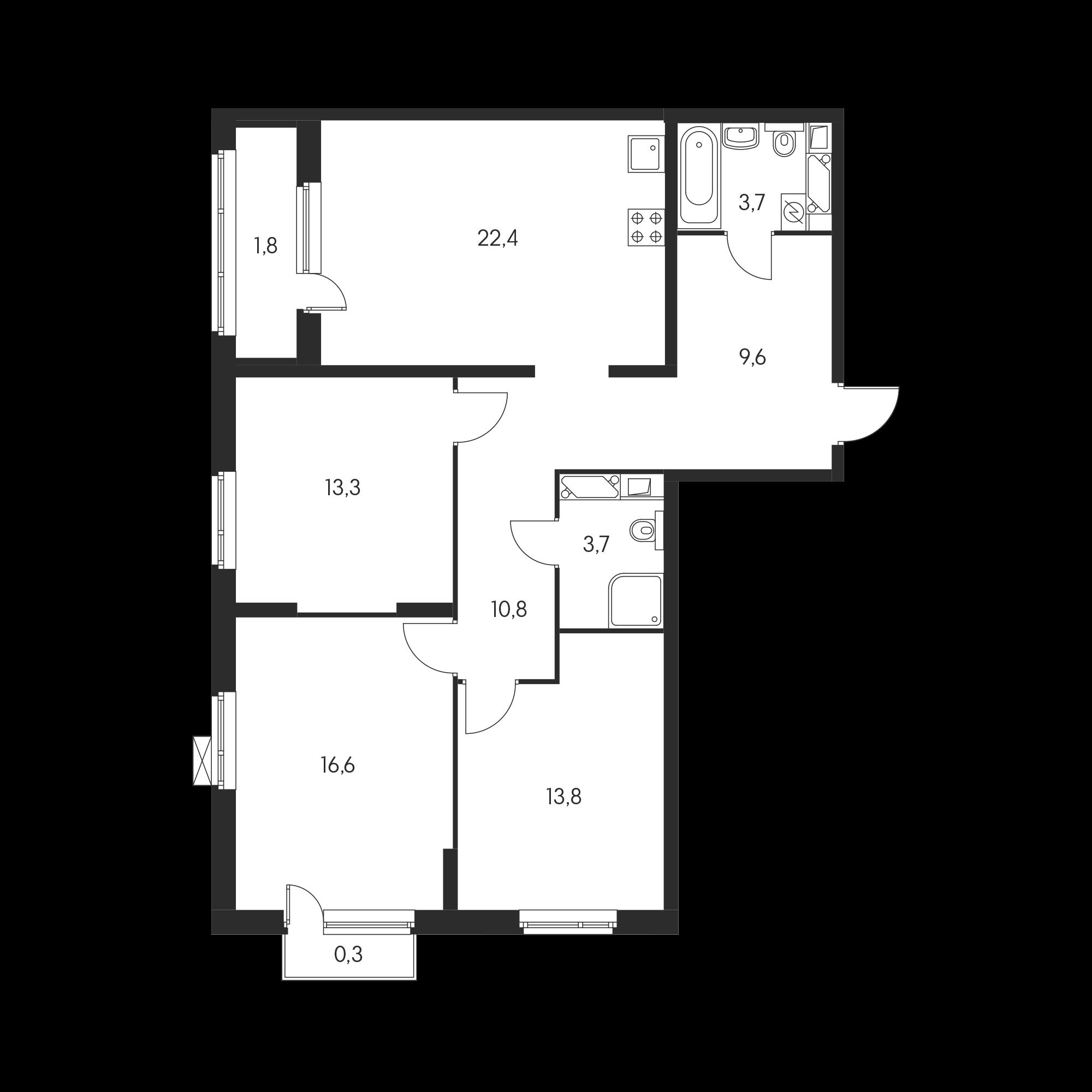 3-комнатная 97.3 м²