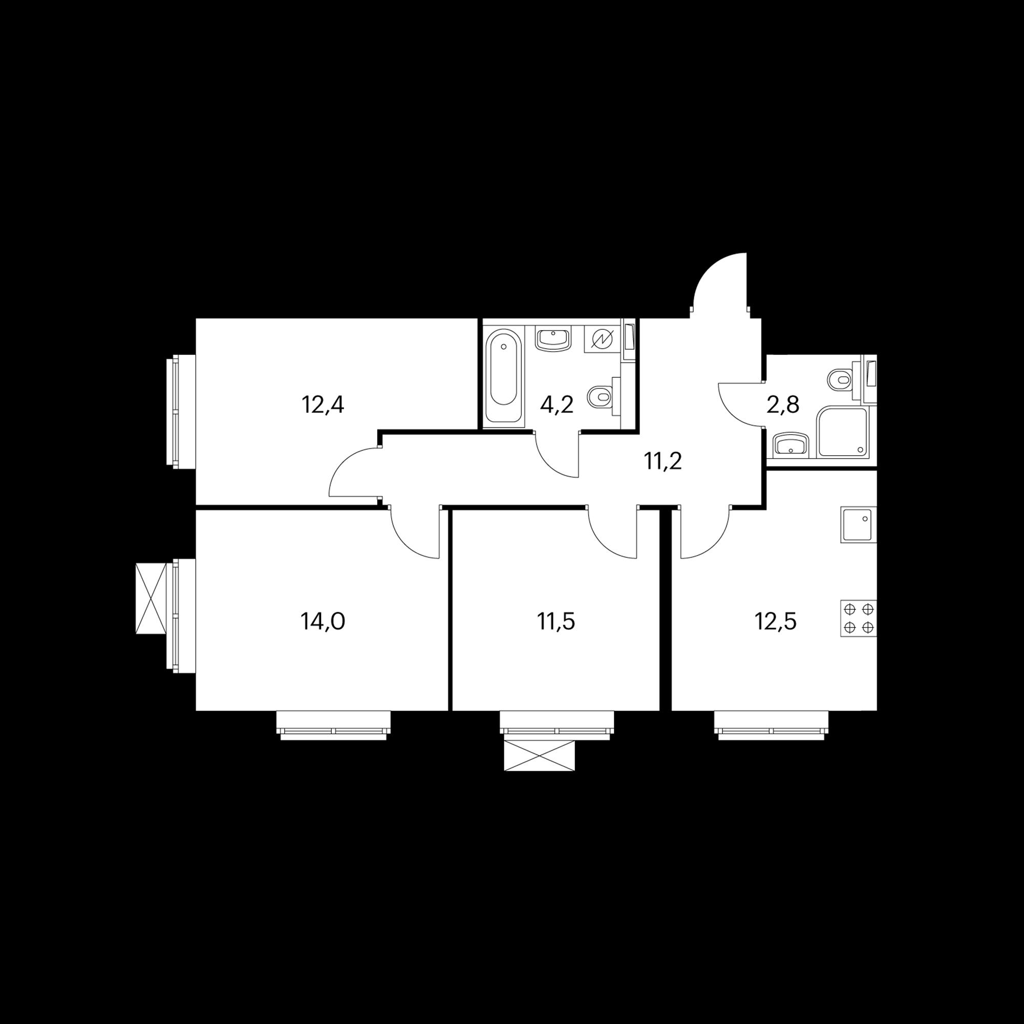 3-комнатная 68.6 м²