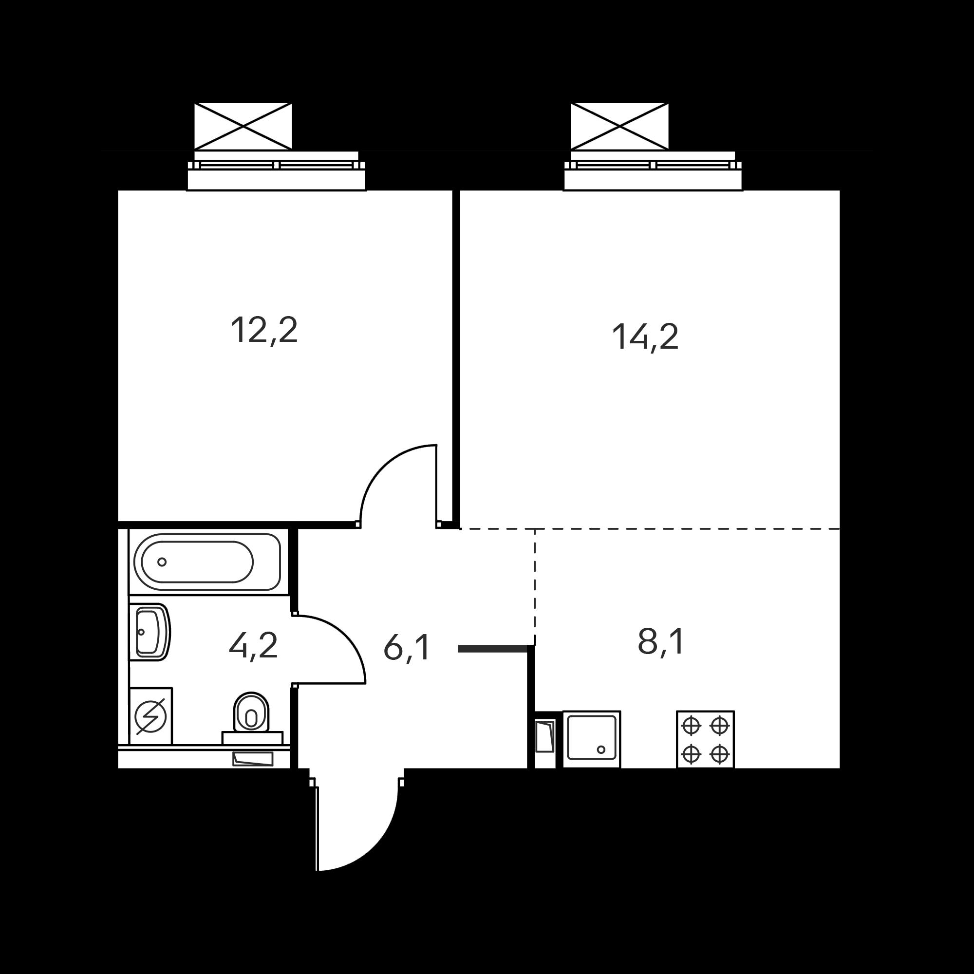 2-комнатная 44.8 м²