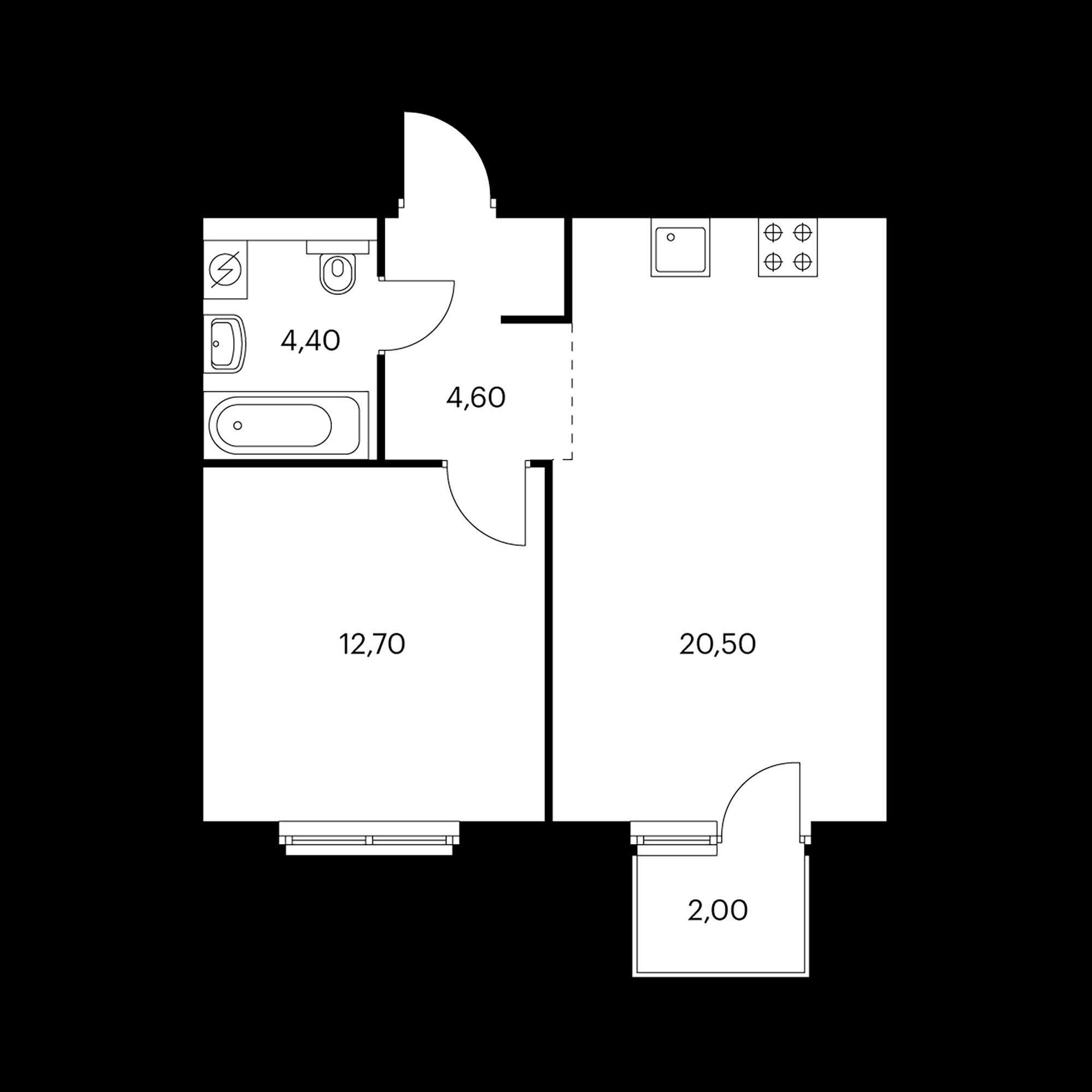 1-комнатная 43 м²