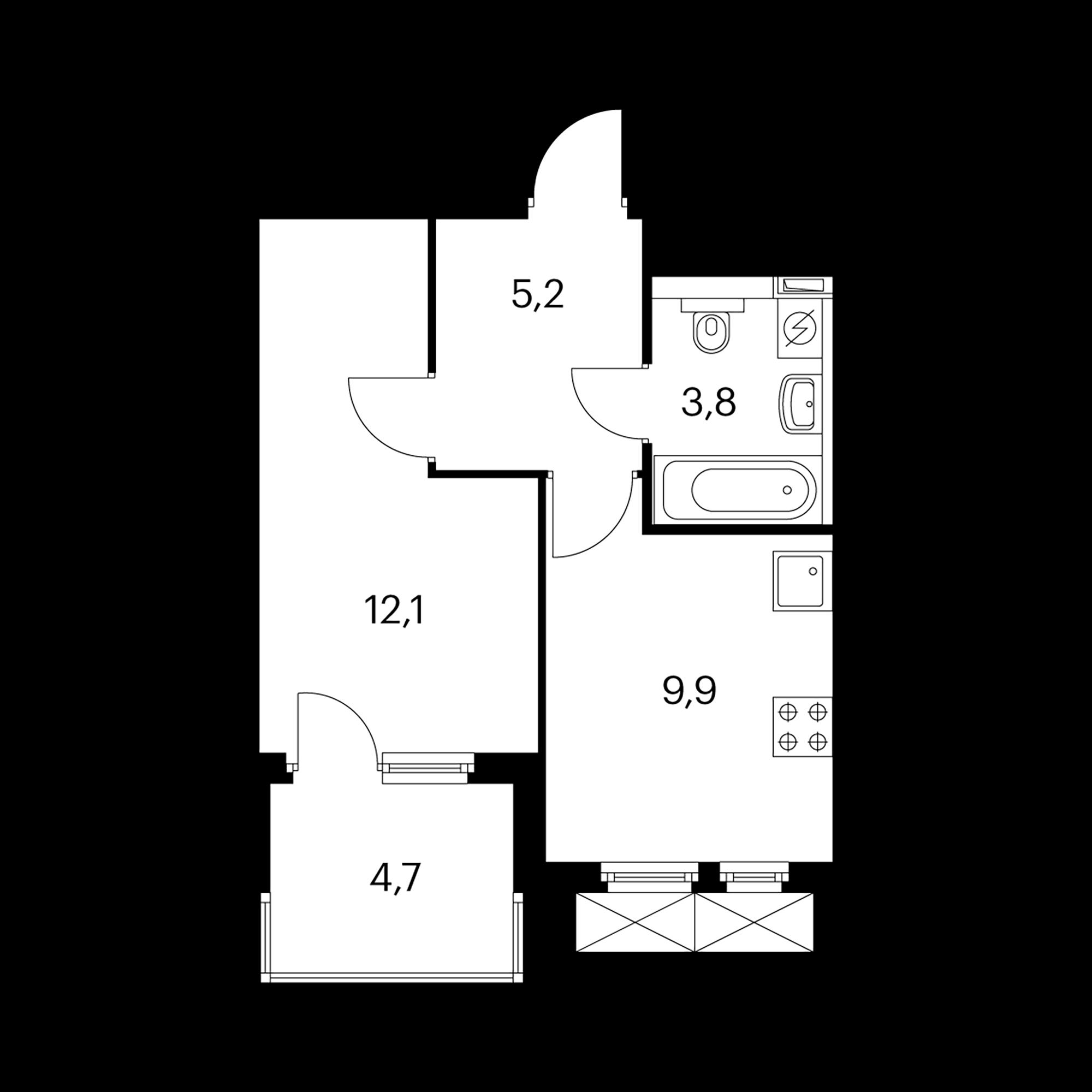 1-комнатная 33.3  м²