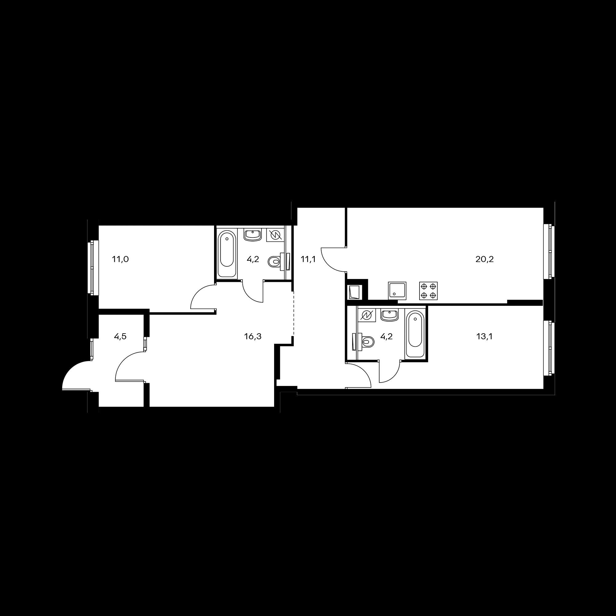 2-комнатная 84.6 м²