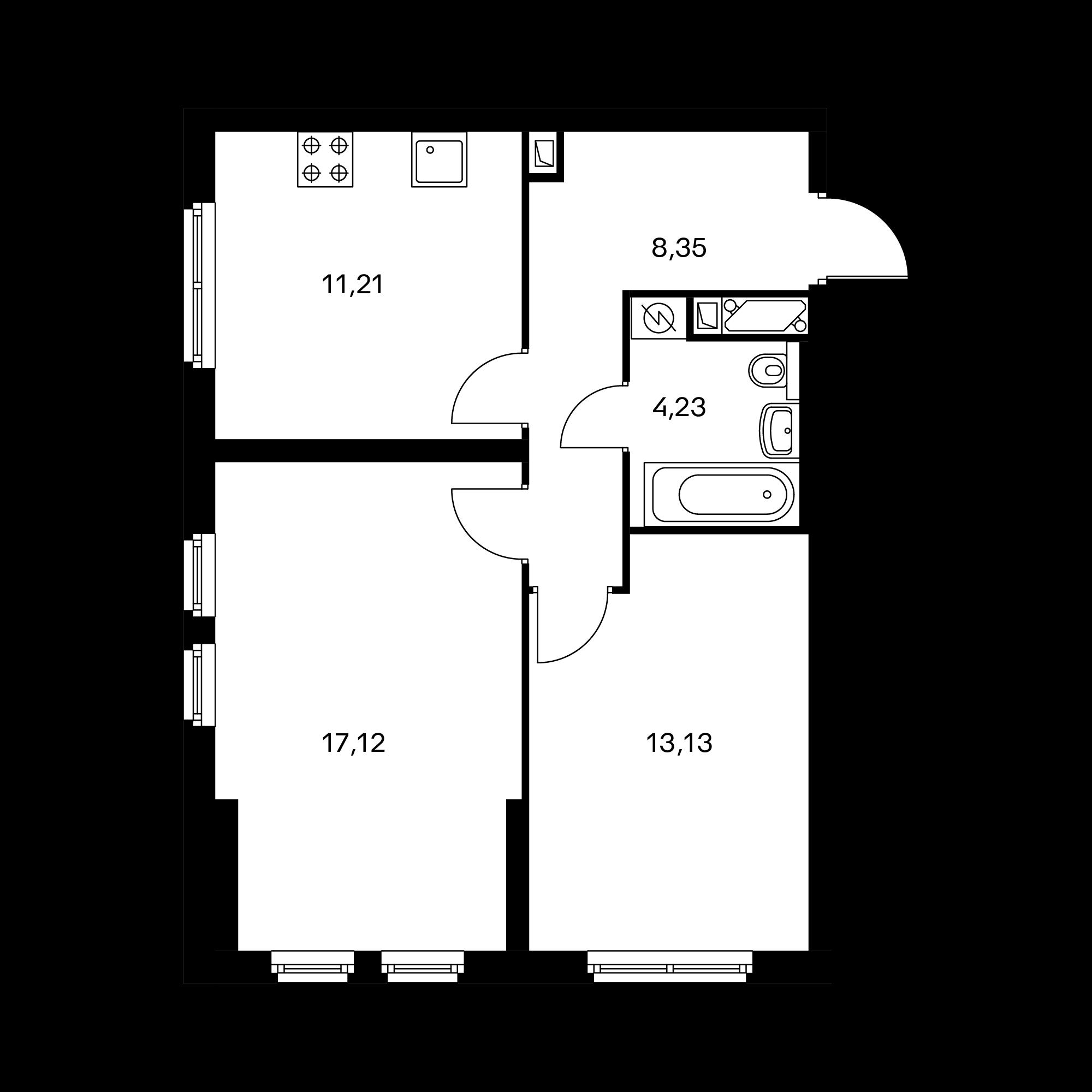 2-комнатная 54.04  м²