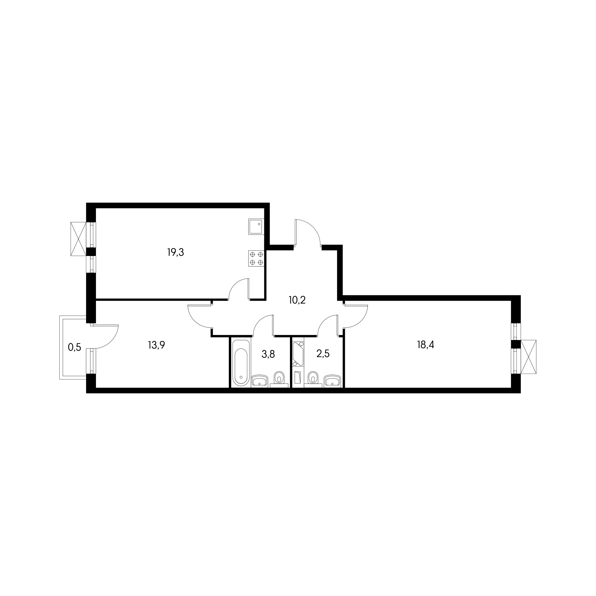 2-комнатная 67.3  м²