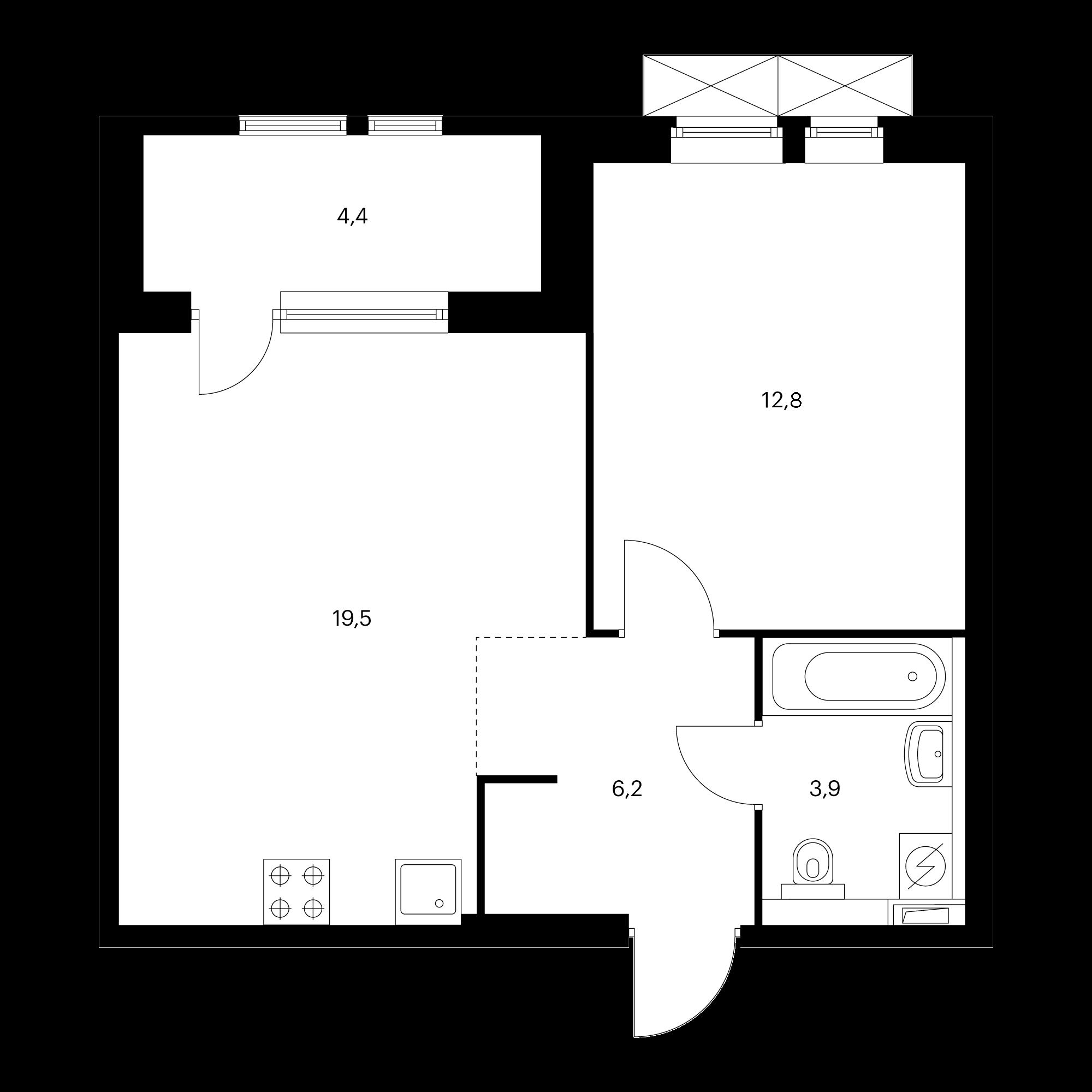 1-комнатная 45.9 м²