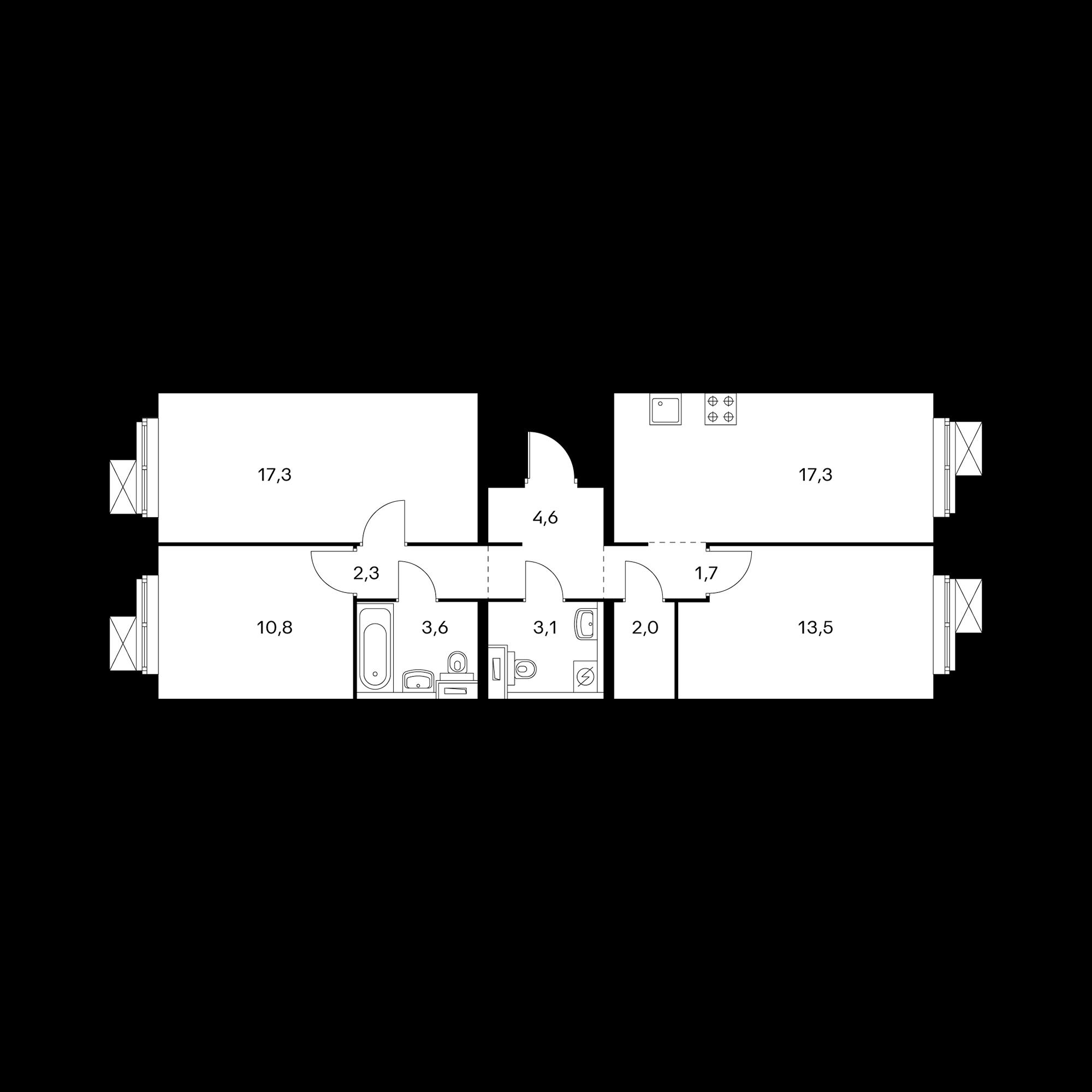 3-комнатная 76 м²