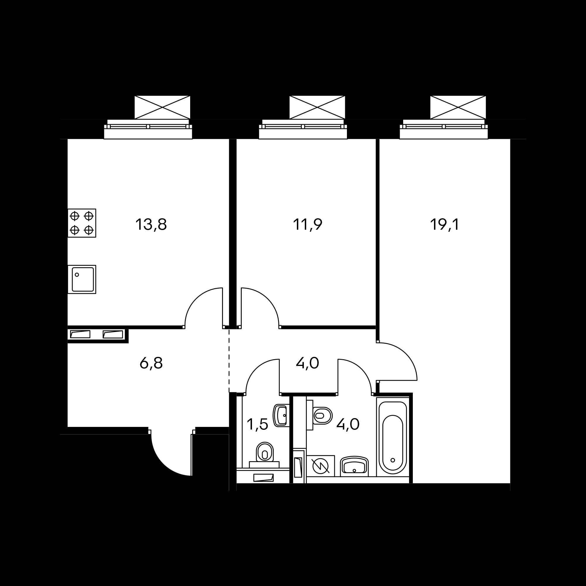 2-комнатная 61.1 м²