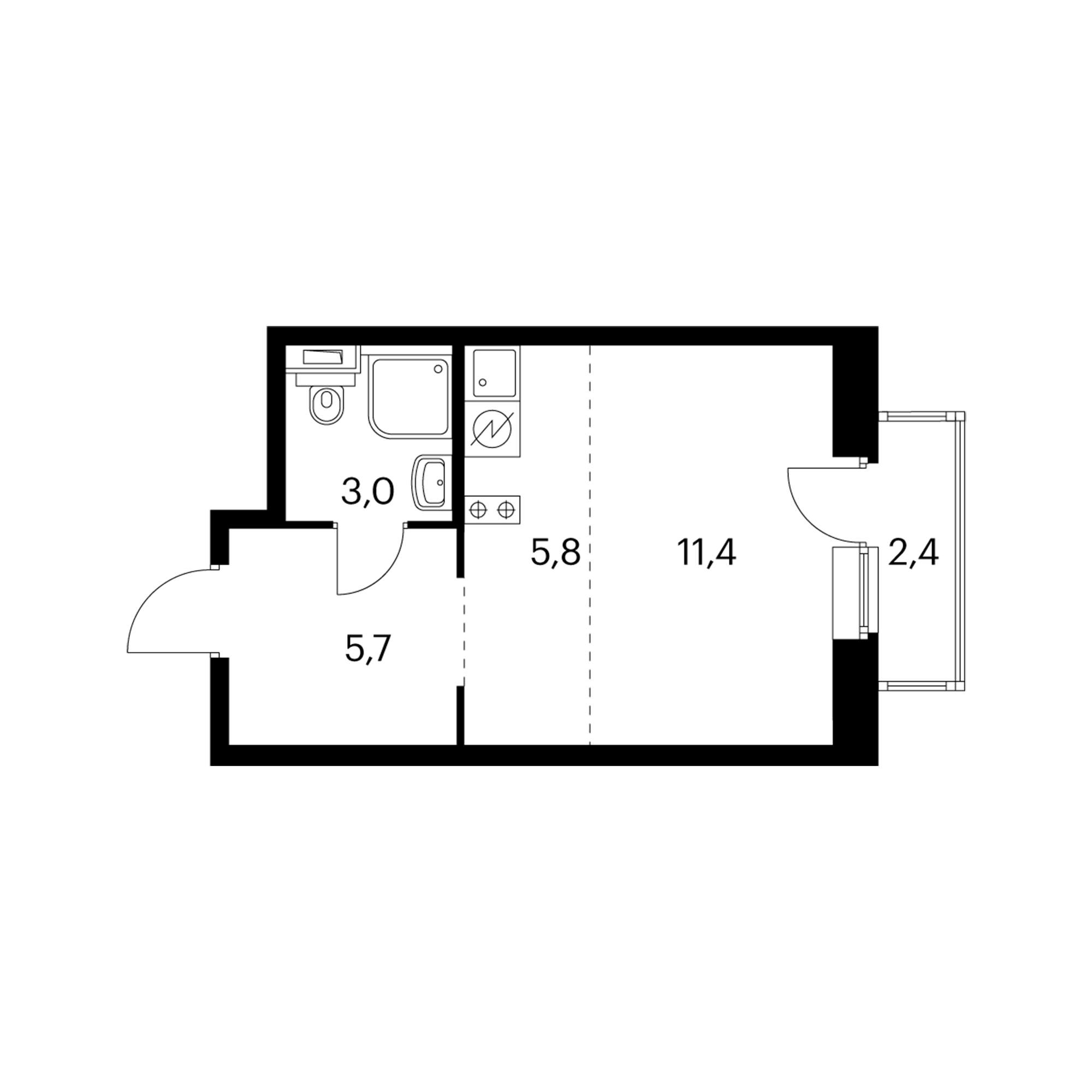 Студия 26.6  м²