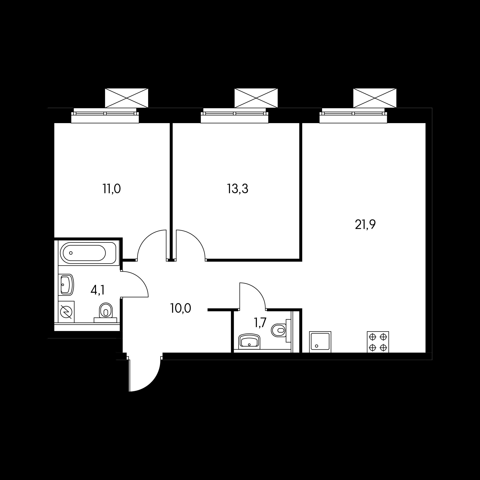 2-комнатная 61.7 м²